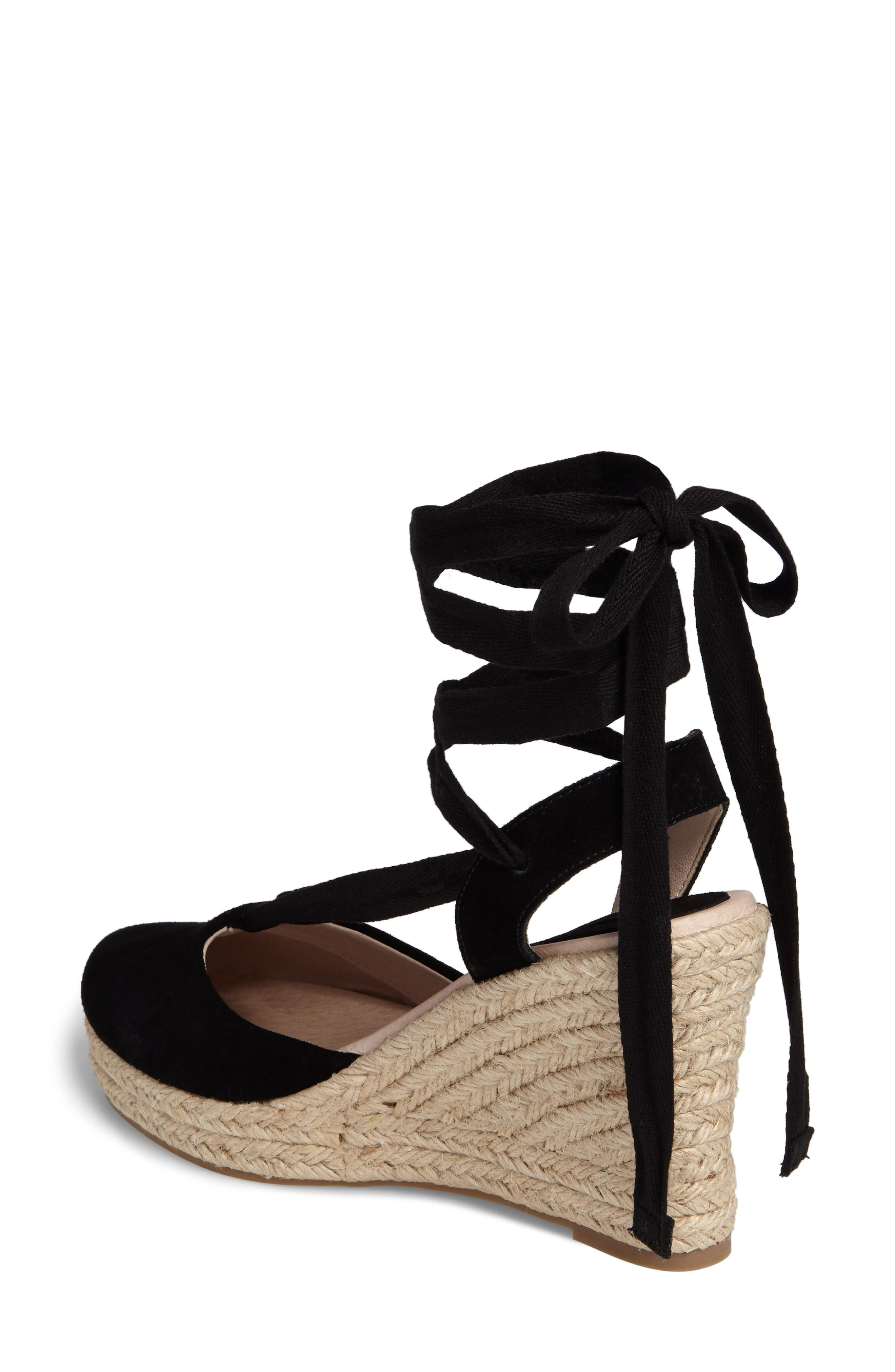 TOPSHOP, Waves Espadrille Wedge, Alternate thumbnail 2, color, 001