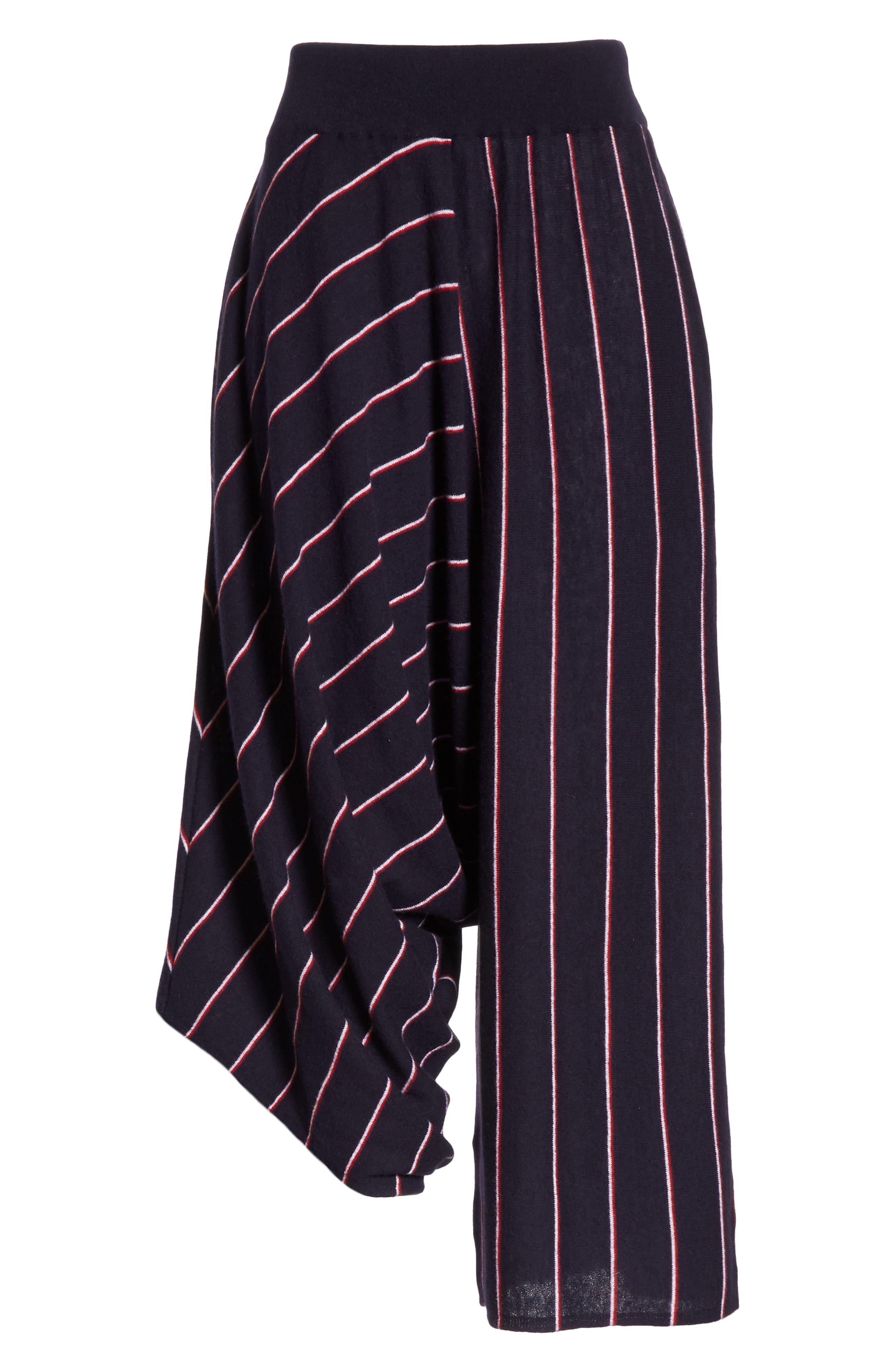STELLA MCCARTNEY, Stripe Wool Knit Crop Pants, Alternate thumbnail 6, color, INK