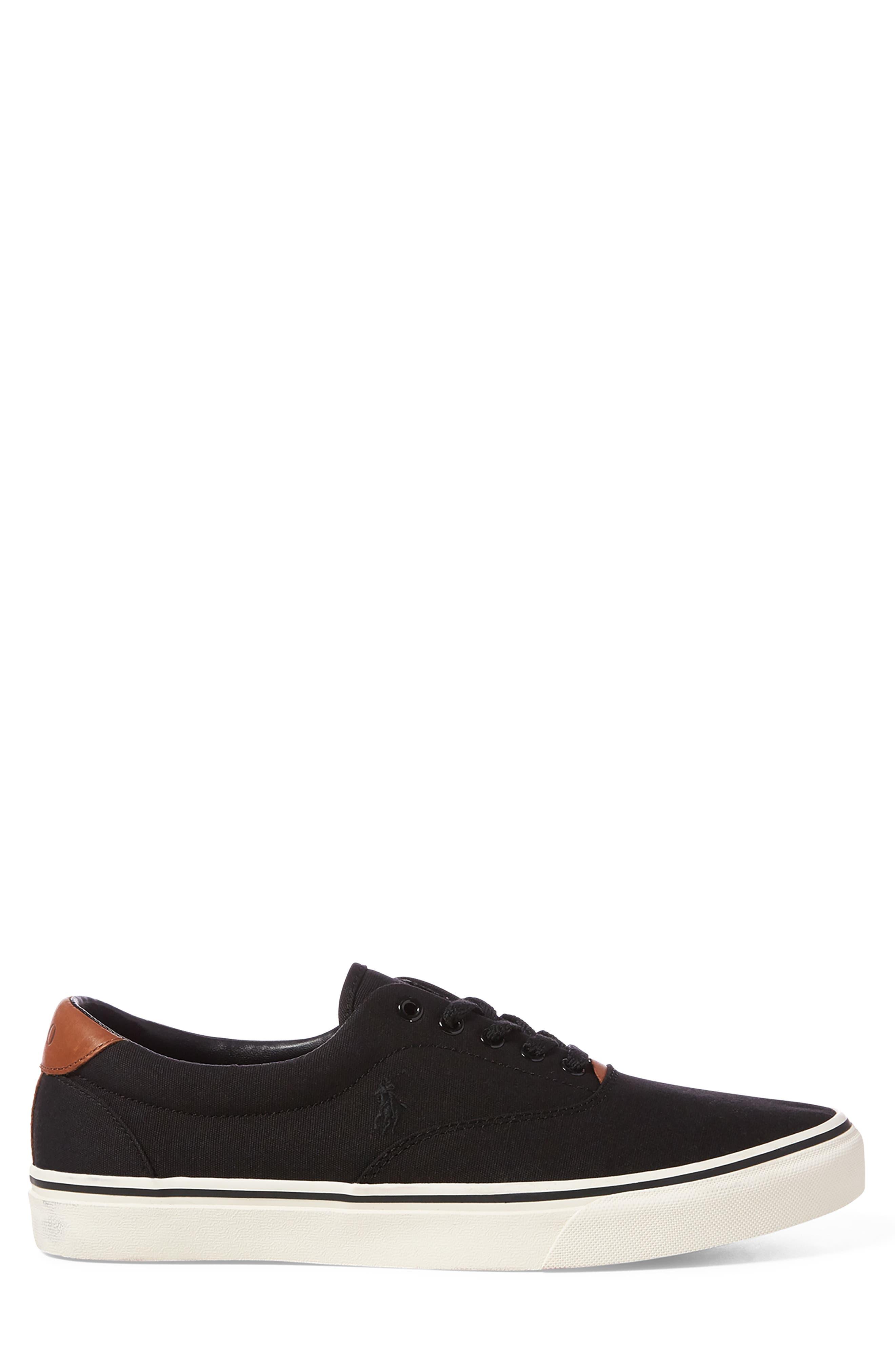 POLO RALPH LAUREN, Thorton Low Top Sneaker, Alternate thumbnail 2, color, BLACK CANVAS