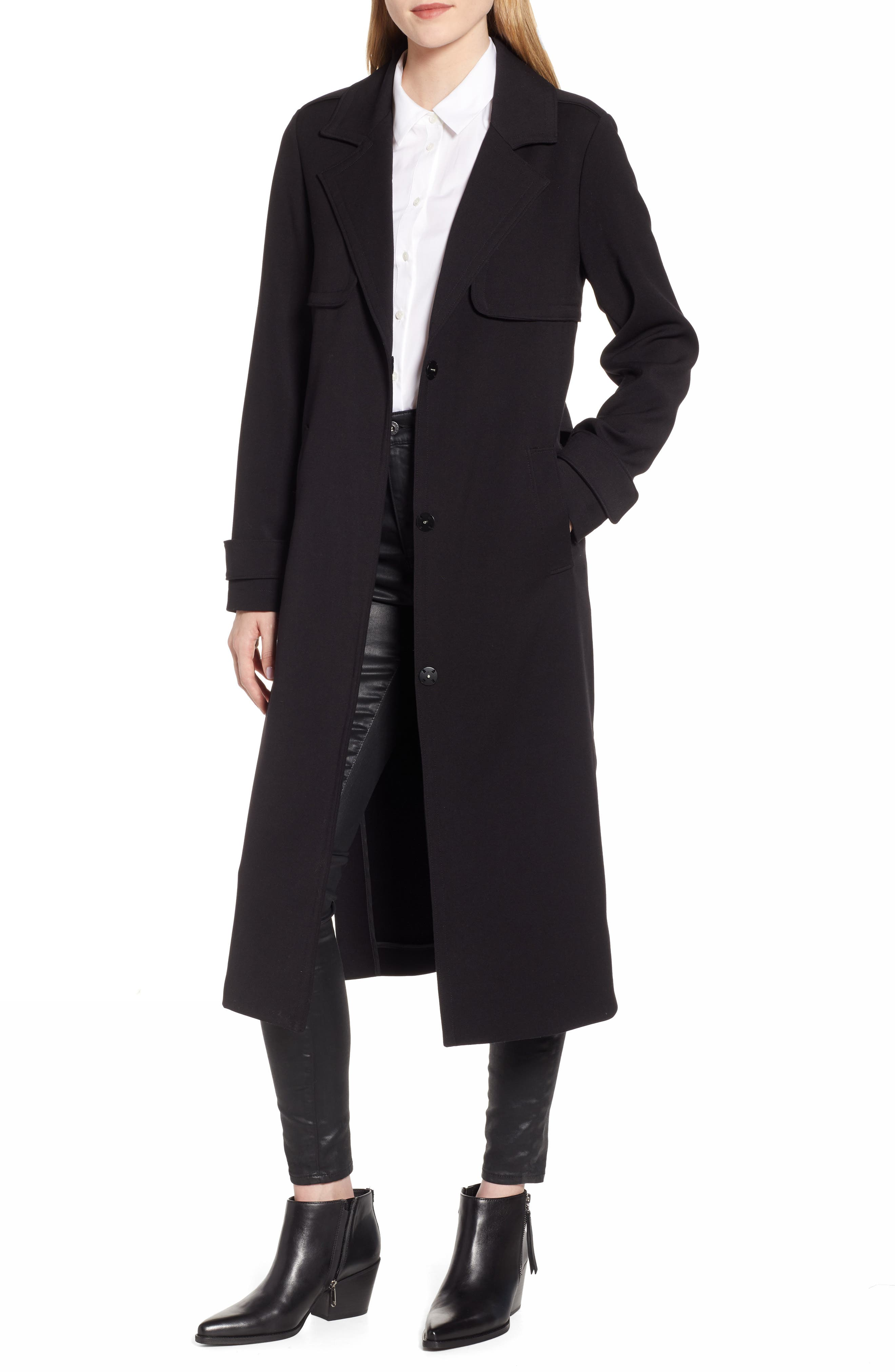 KENNETH COLE NEW YORK, Ponte Trench Coat, Main thumbnail 1, color, BLACK