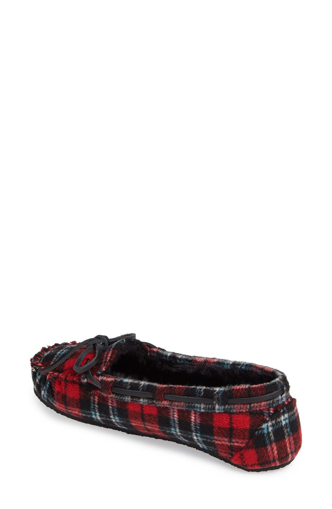 MINNETONKA, Cally Plaid Faux Fur Lined Slipper, Alternate thumbnail 2, color, RED