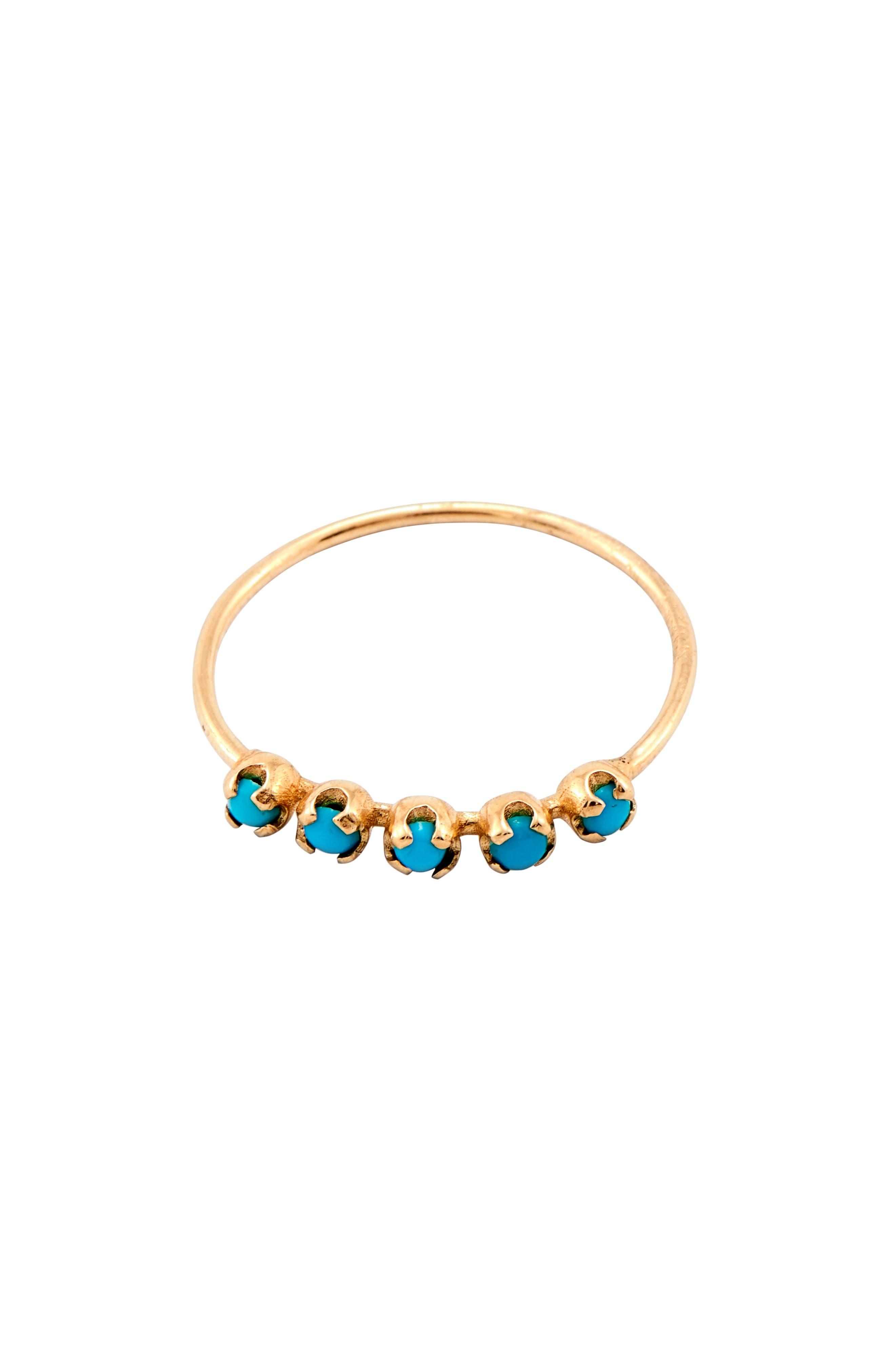 LOREN STEWART, Turquoise Cinq Ring, Main thumbnail 1, color, GOLD/ TURQUOISE