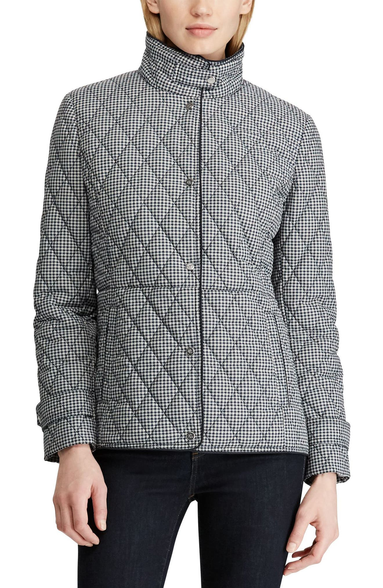 LAUREN RALPH LAUREN, Houndstooth Quilted Military Jacket, Main thumbnail 1, color, DK NAVY HOUNDSTOOTH