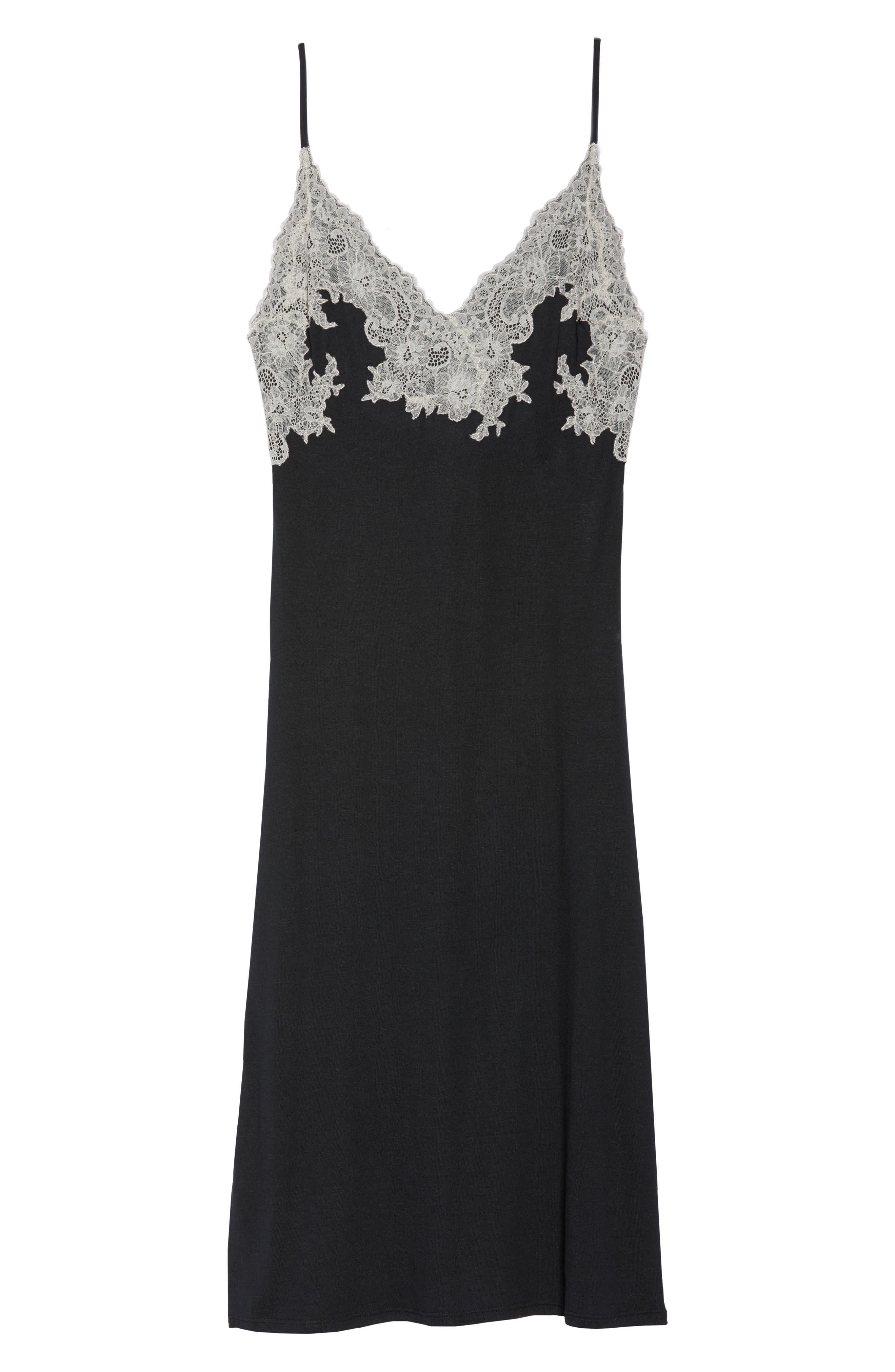 NATORI, Luxe Shangri-La Nightgown, Alternate thumbnail 6, color, BLACK
