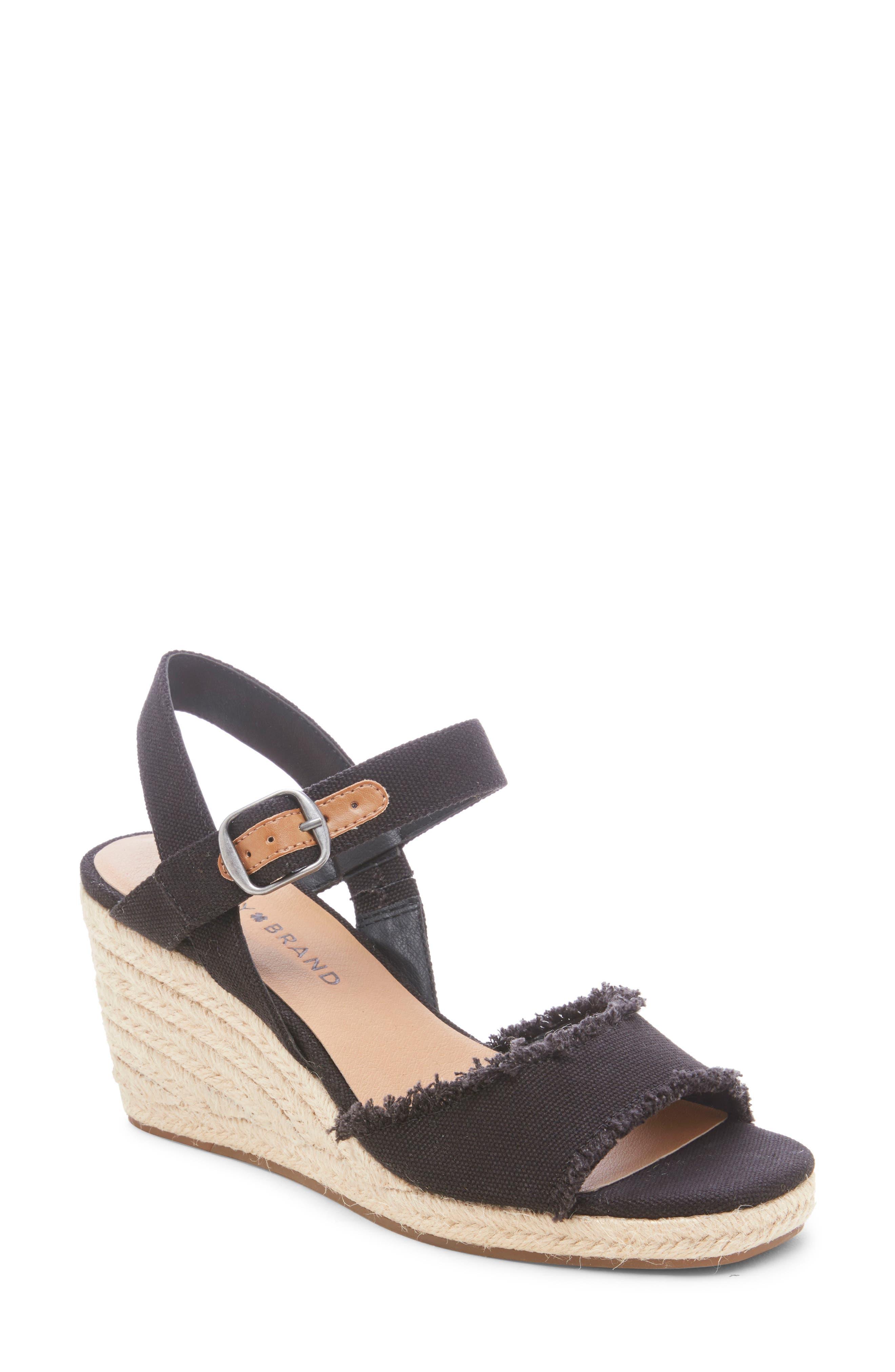 LUCKY BRAND Mindra Espadrille Wedge Sandal, Main, color, BLACK FABRIC