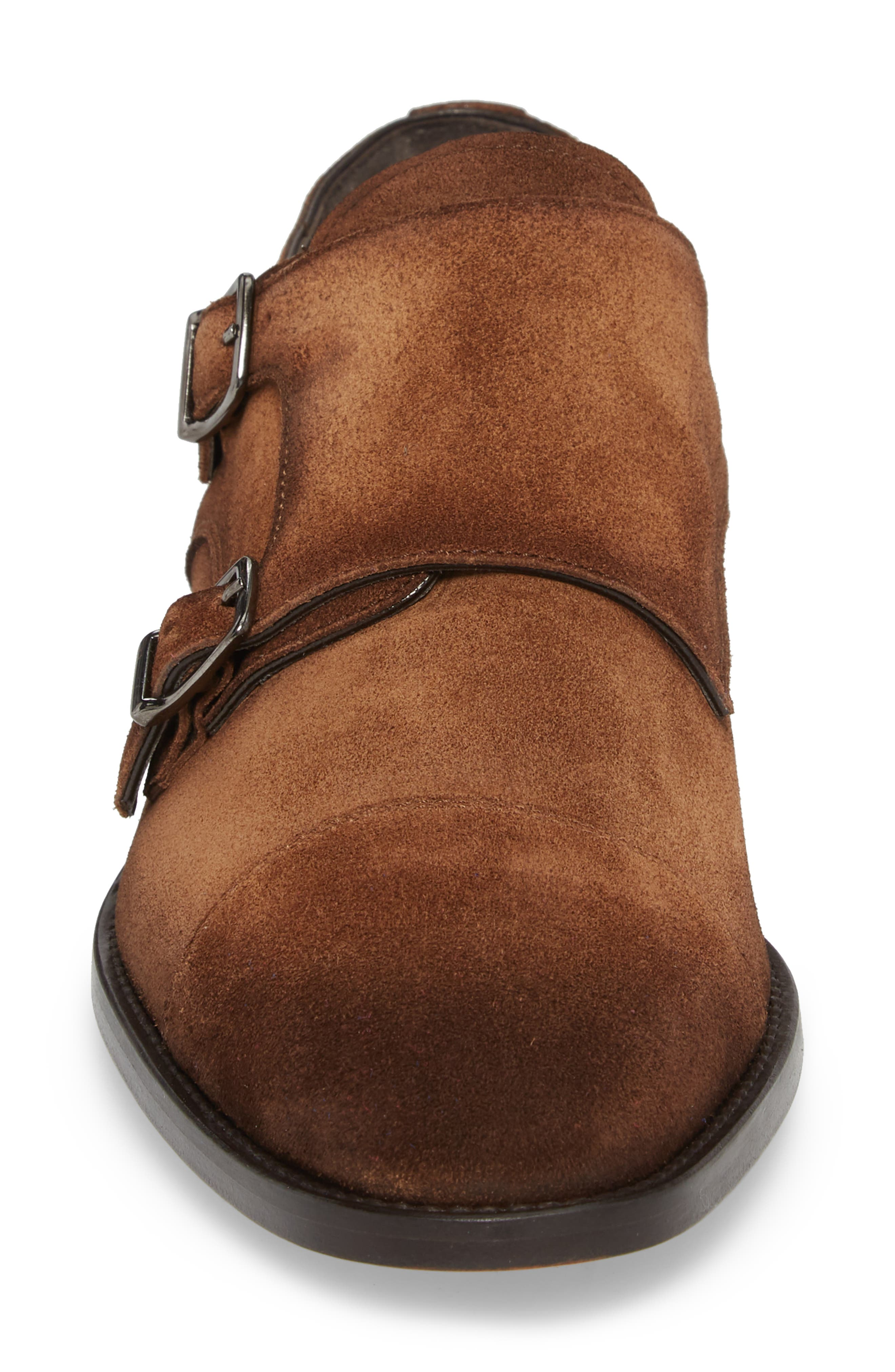 TO BOOT NEW YORK, Quentin Cap Toe Monk Shoe, Alternate thumbnail 4, color, BROWN SUEDE LEATHER