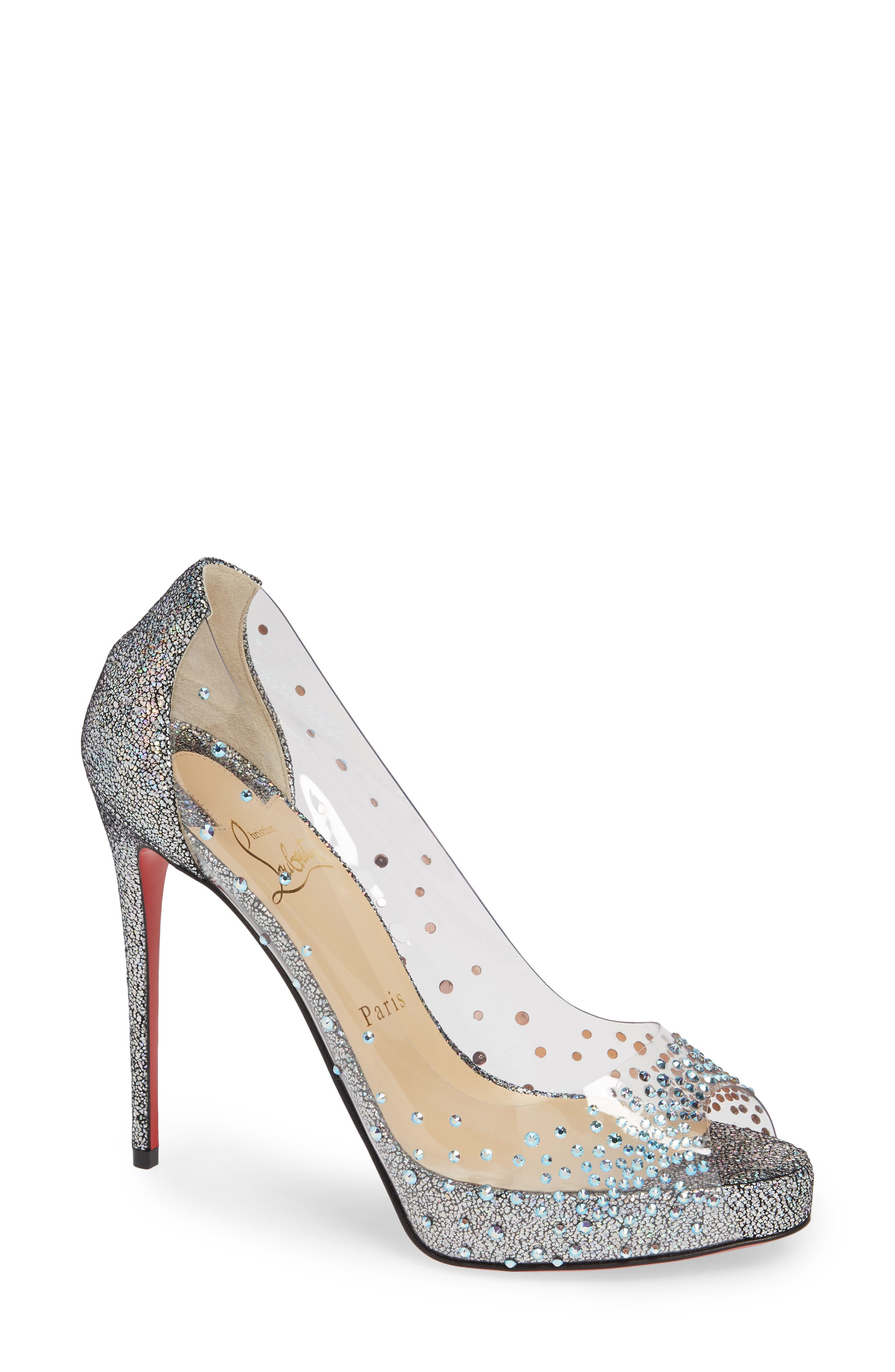 CHRISTIAN LOUBOUTIN, Very Strass Embellished Peep Toe Pump, Main thumbnail 1, color, SILVER