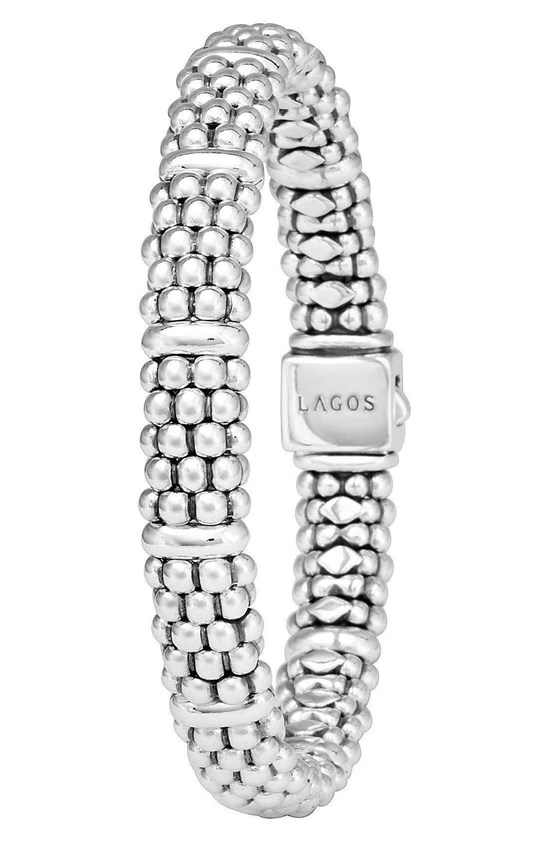 LAGOS, Oval Rope Caviar Bracelet, Alternate thumbnail 6, color, SILVER