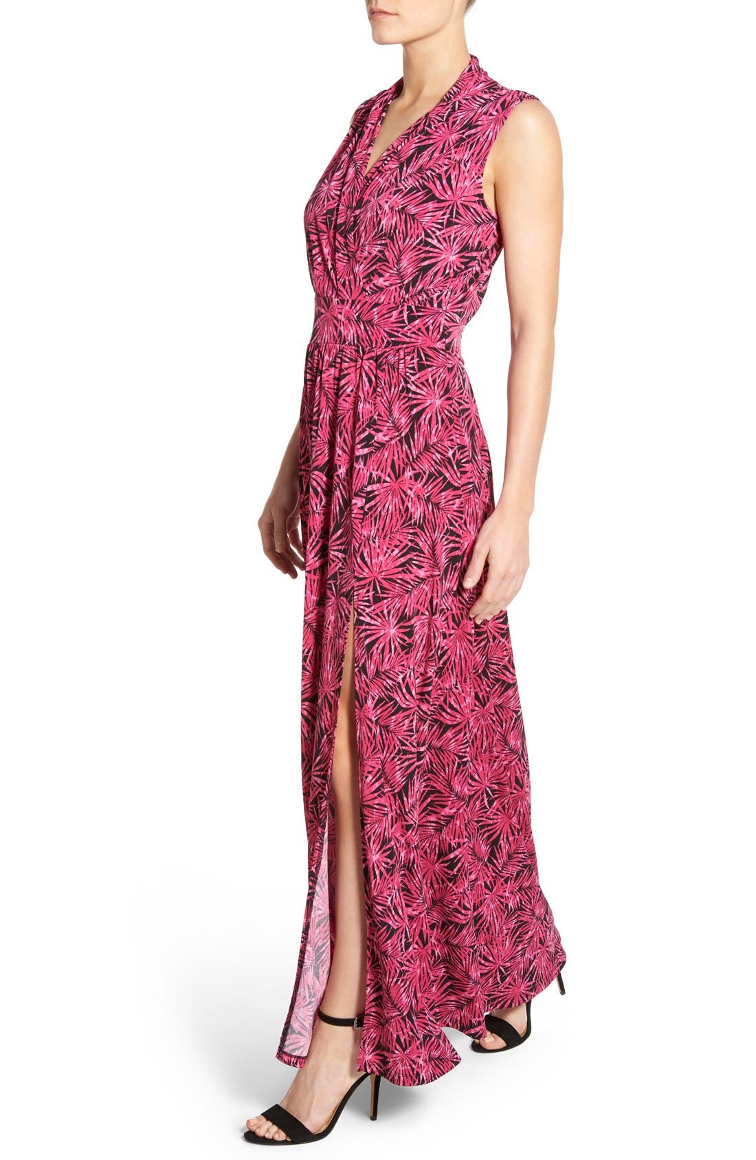 MICHAEL MICHAEL KORS, Print Jersey Side Slit Maxi Dress, Alternate thumbnail 2, color, 660