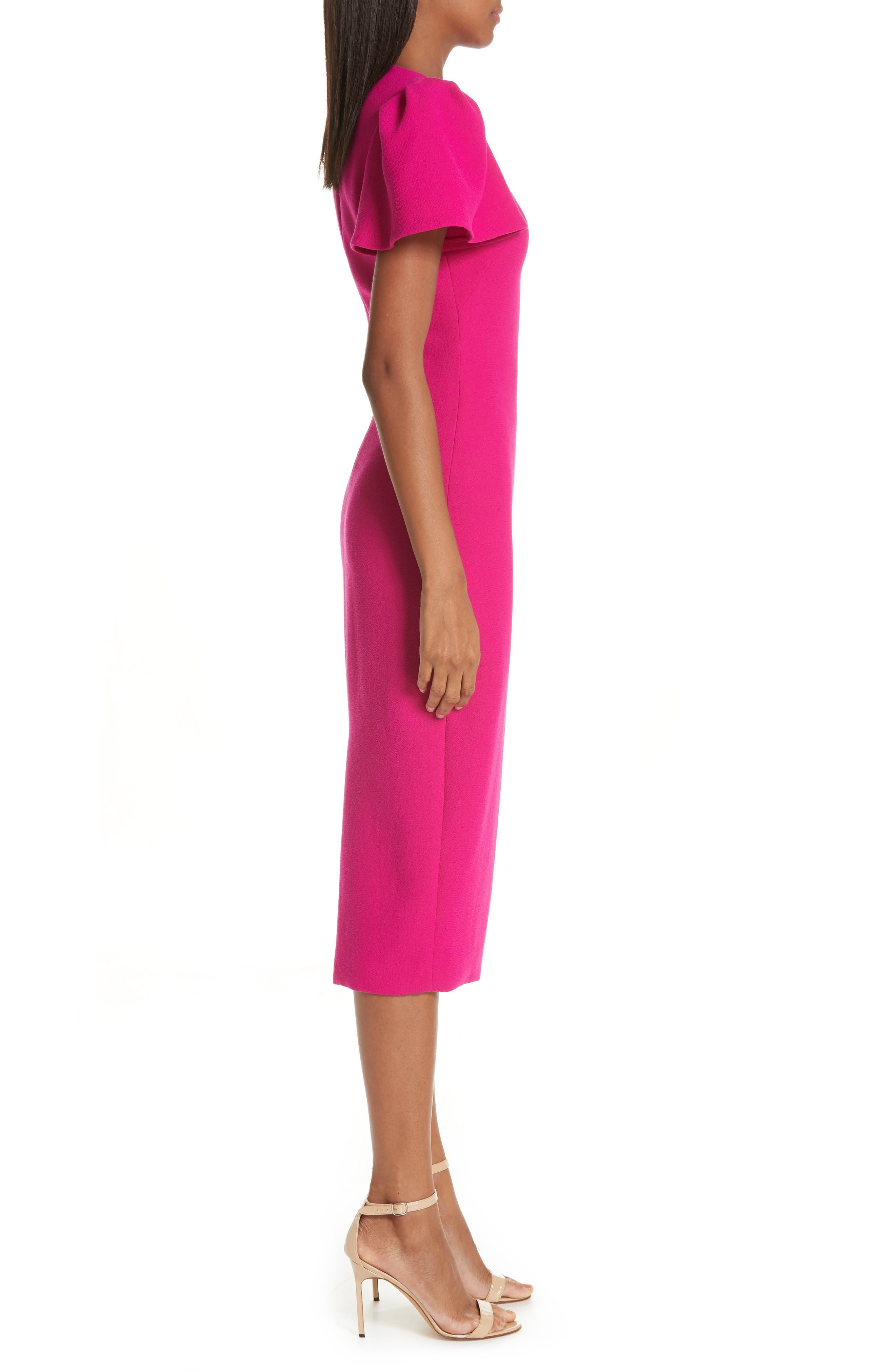BRANDON MAXWELL, Flutter Sleeve Sheath Dress, Alternate thumbnail 4, color, MAGENTA