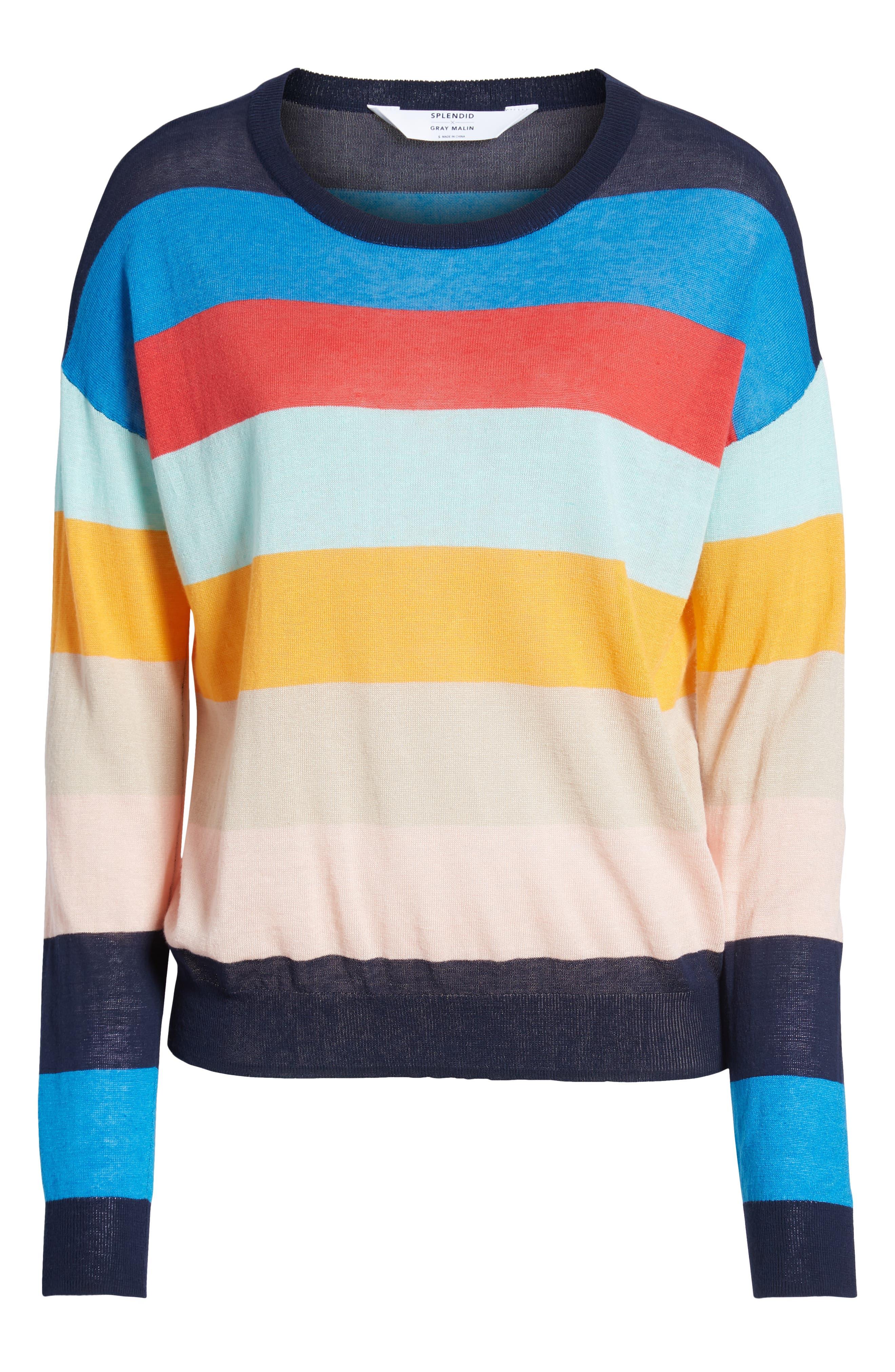 SPLENDID, Sunray Colorblock Sweater, Alternate thumbnail 6, color, BONFIRE MULTI