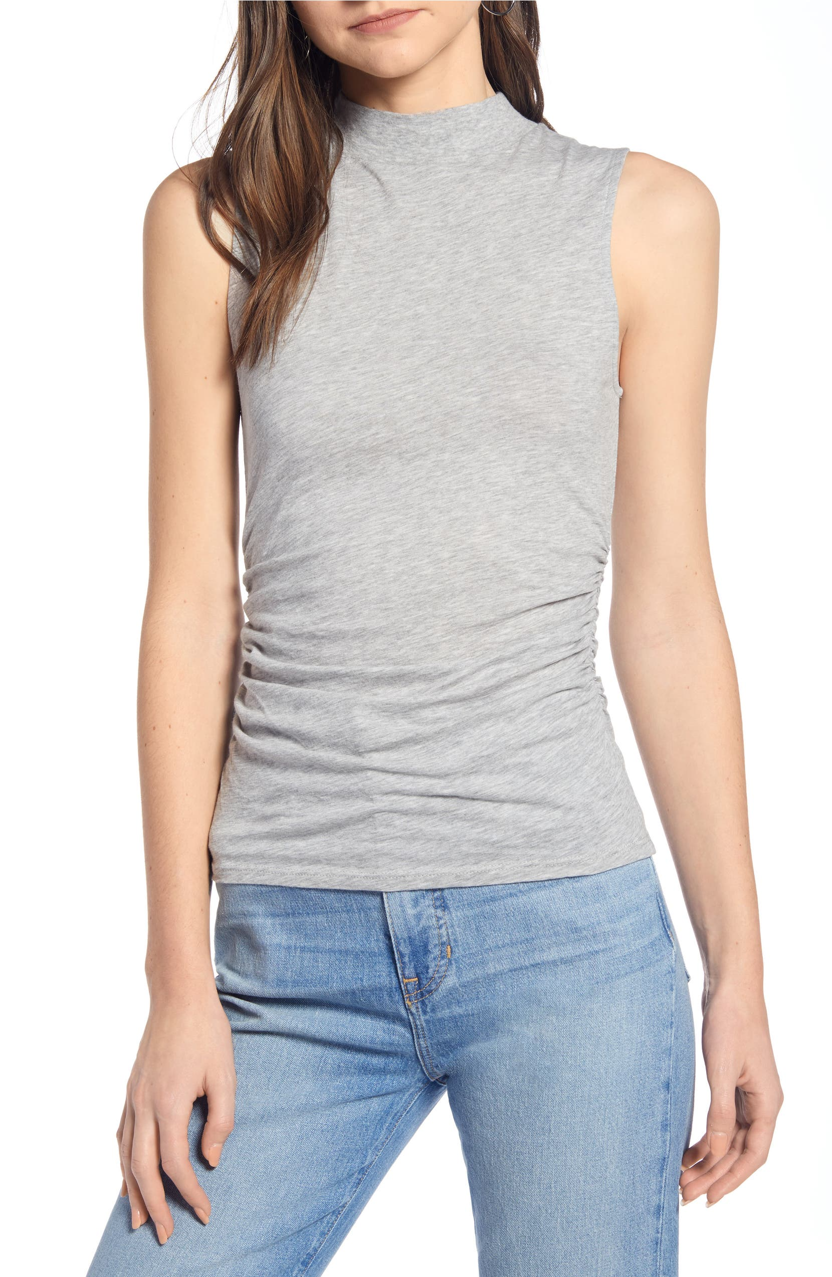 6737d94c2b943b Something Navy Easy Mock Neck Sleeveless Top (Nordstrom Exclusive ...