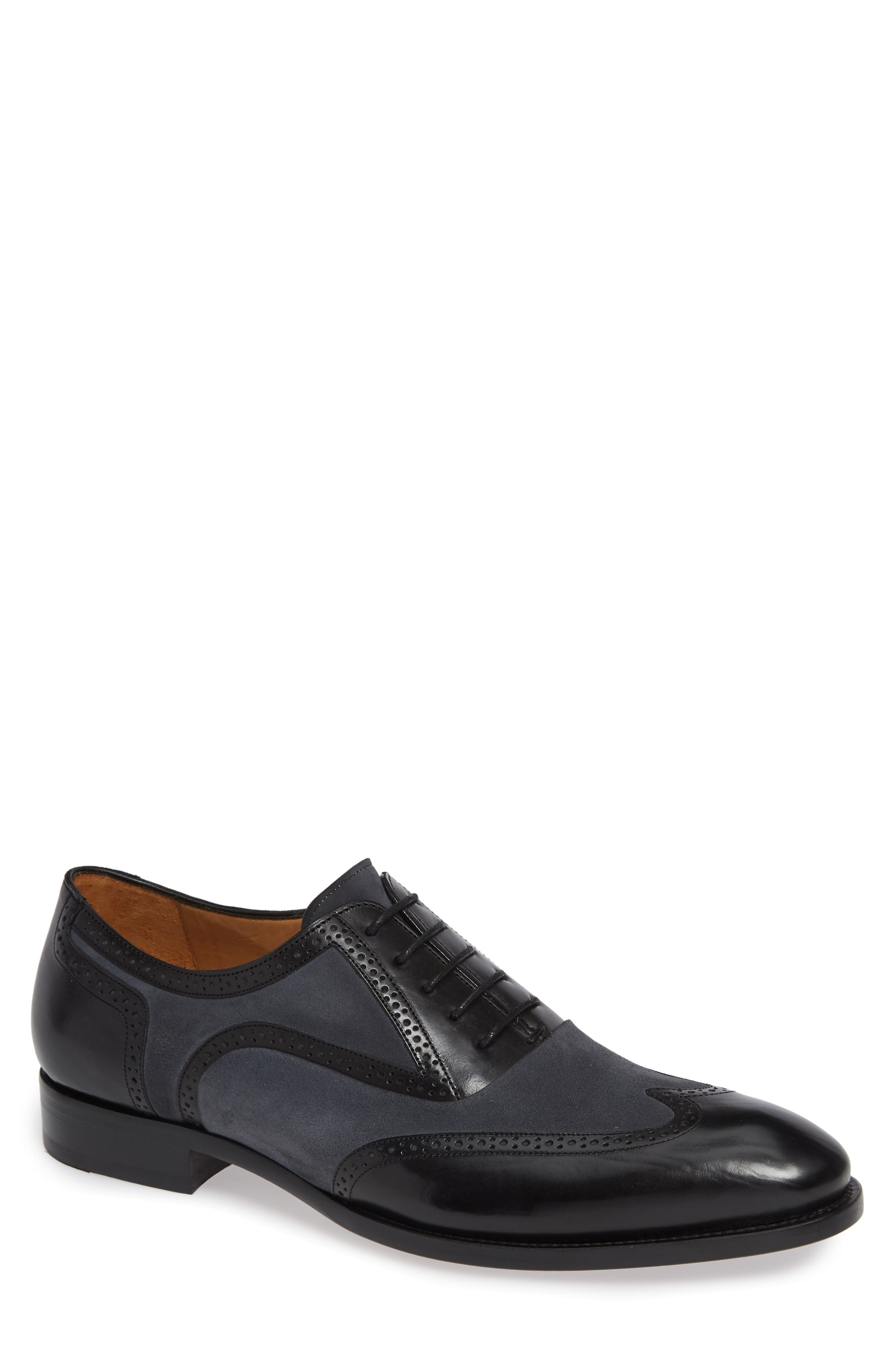Mezlan Cantone Wing Tip Lace-Up Oxford- Black