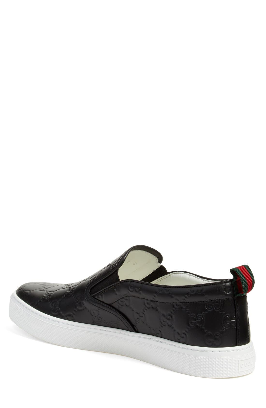 GUCCI, Dublin Slip-On Sneaker, Alternate thumbnail 2, color, NERO EMBOSSED LEATHER