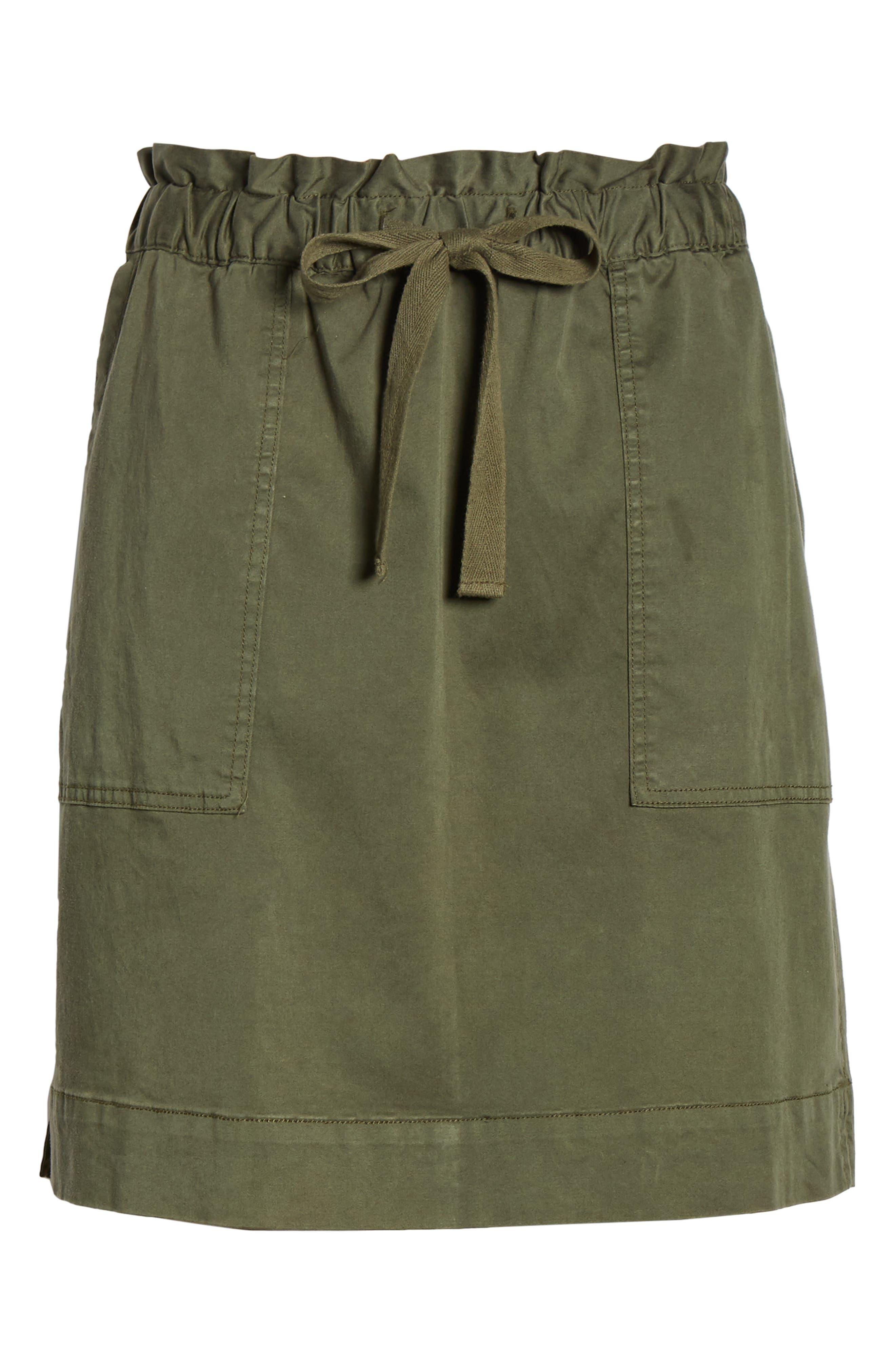 CASLON<SUP>®</SUP>, Paperbag Waist Skirt, Alternate thumbnail 6, color, GREEN BEETLE