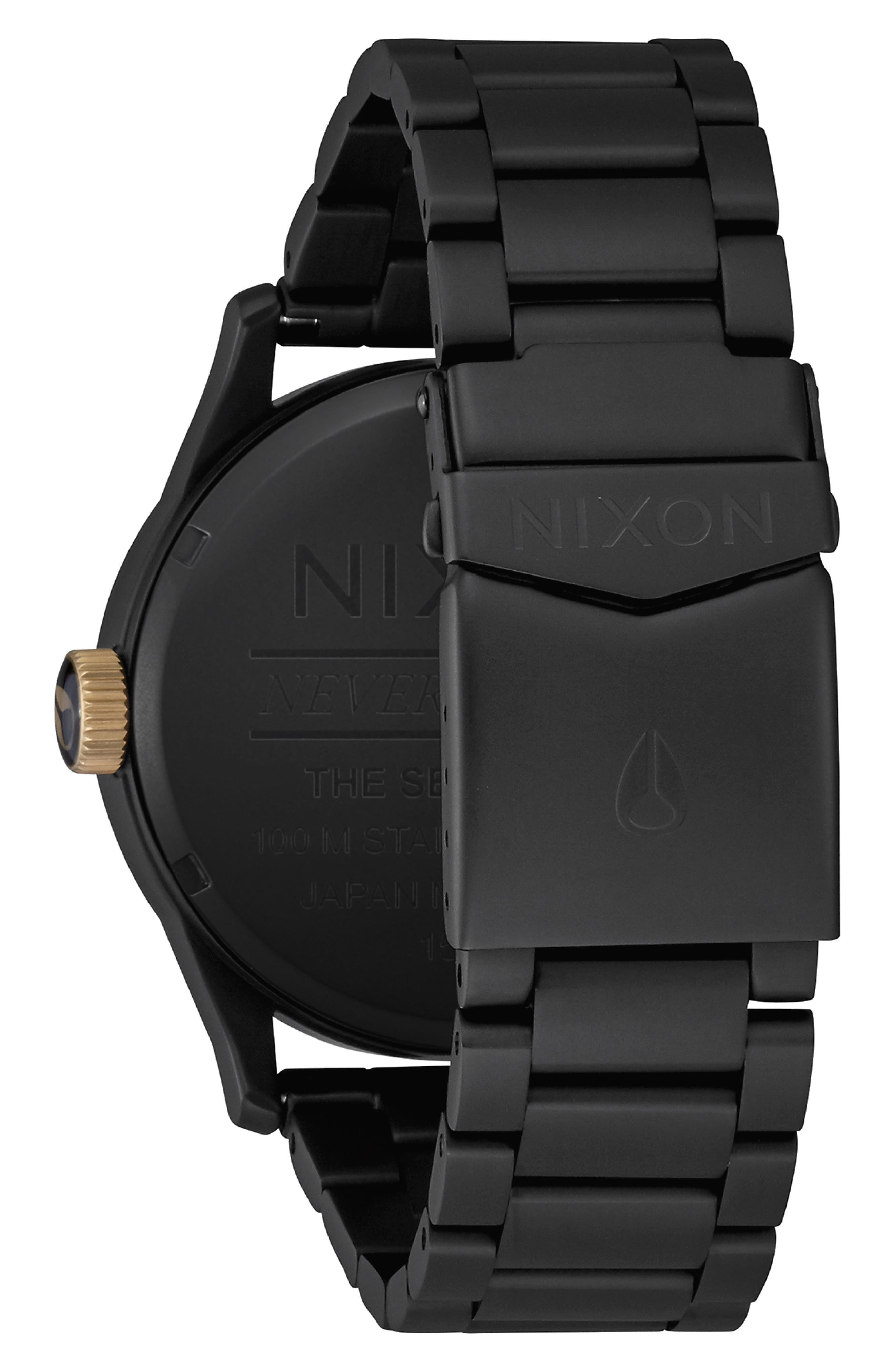 NIXON, 'The Sentry' Bracelet Watch, 42mm, Alternate thumbnail 2, color, 001