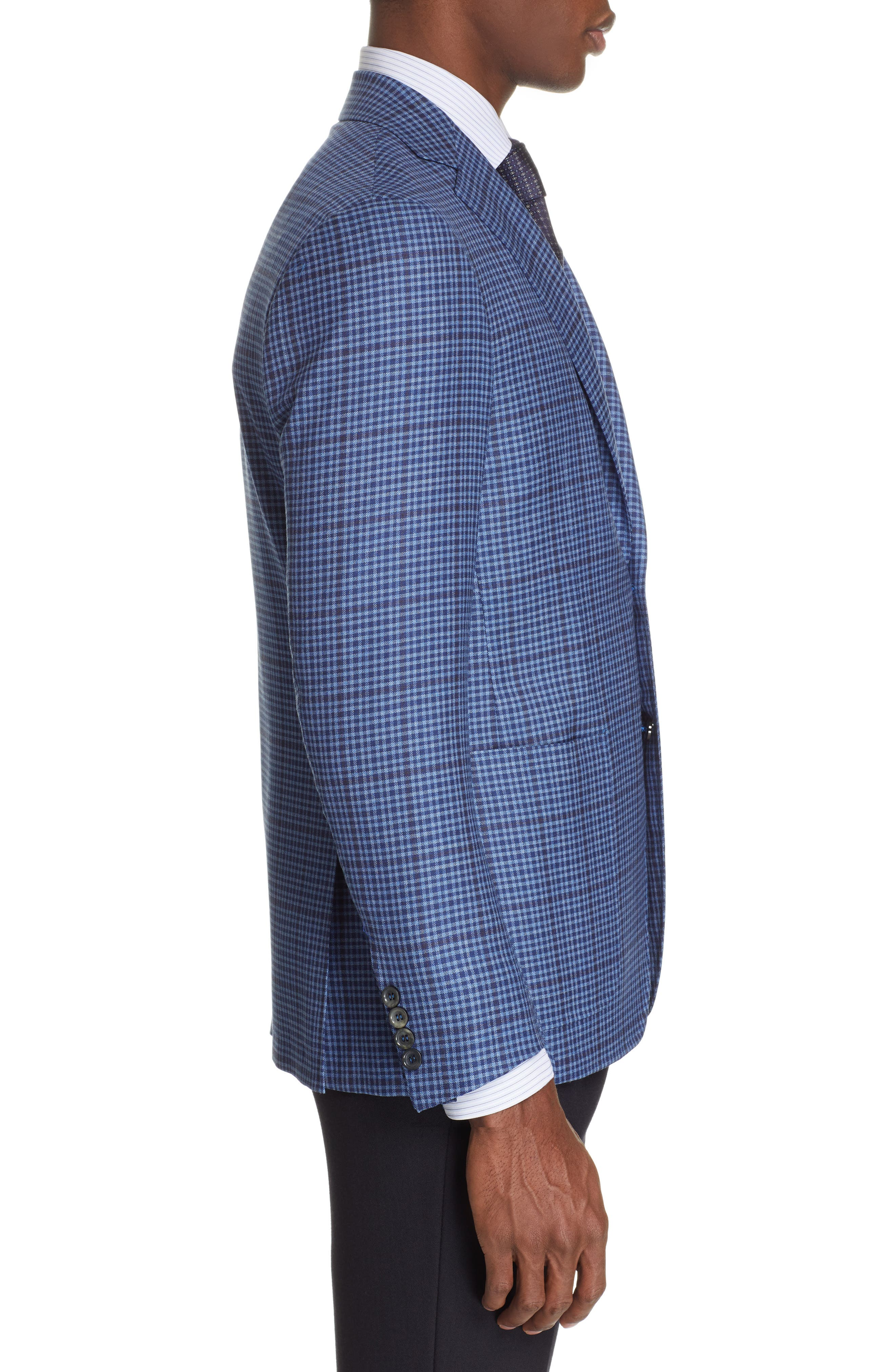 CANALI, Kei Classic Fit Check Wool Sport Coat, Alternate thumbnail 3, color, BLUE