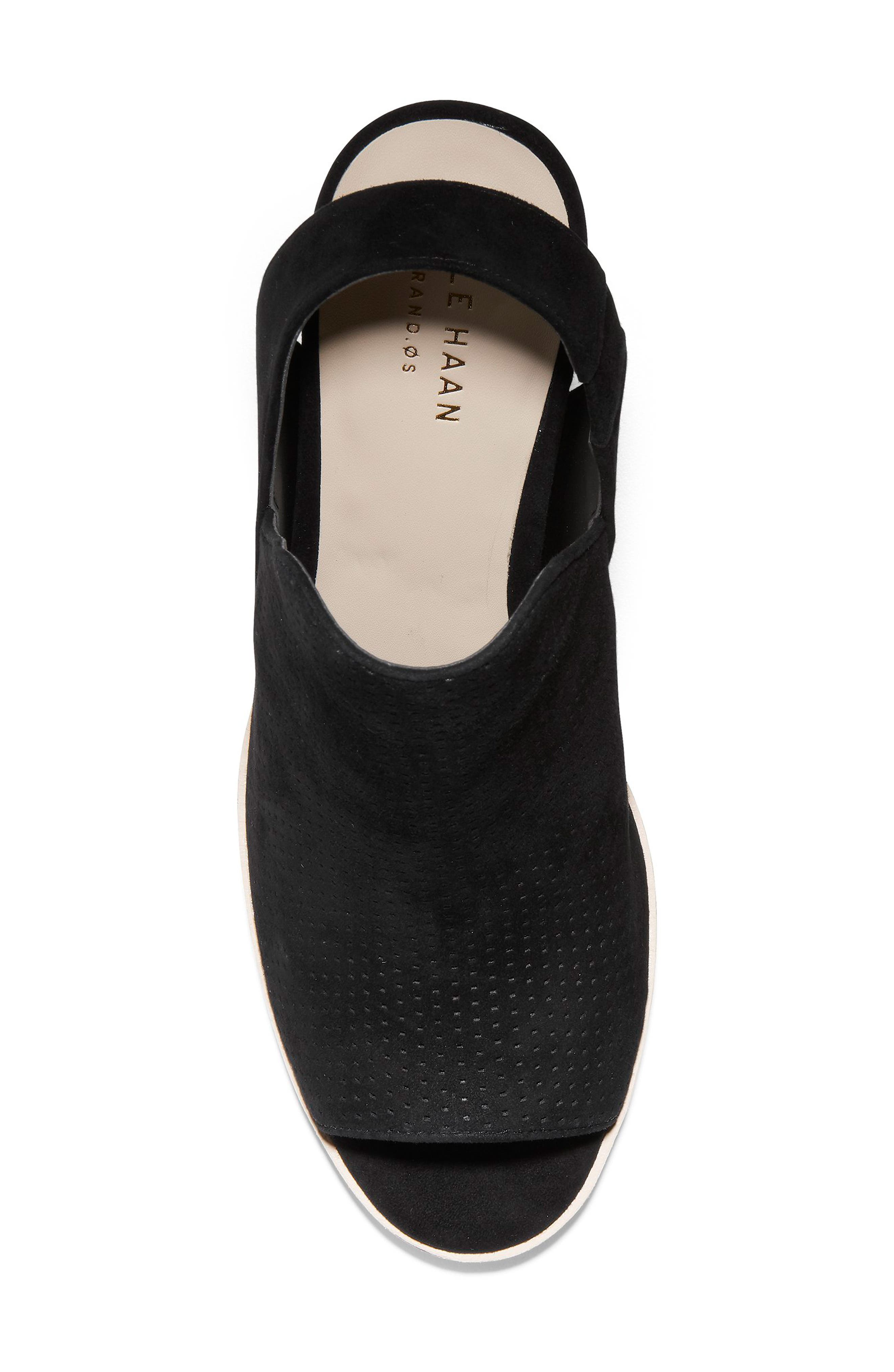 COLE HAAN, Callista Perforated Slingback Sandal, Alternate thumbnail 5, color, BLACK PERF SUEDE