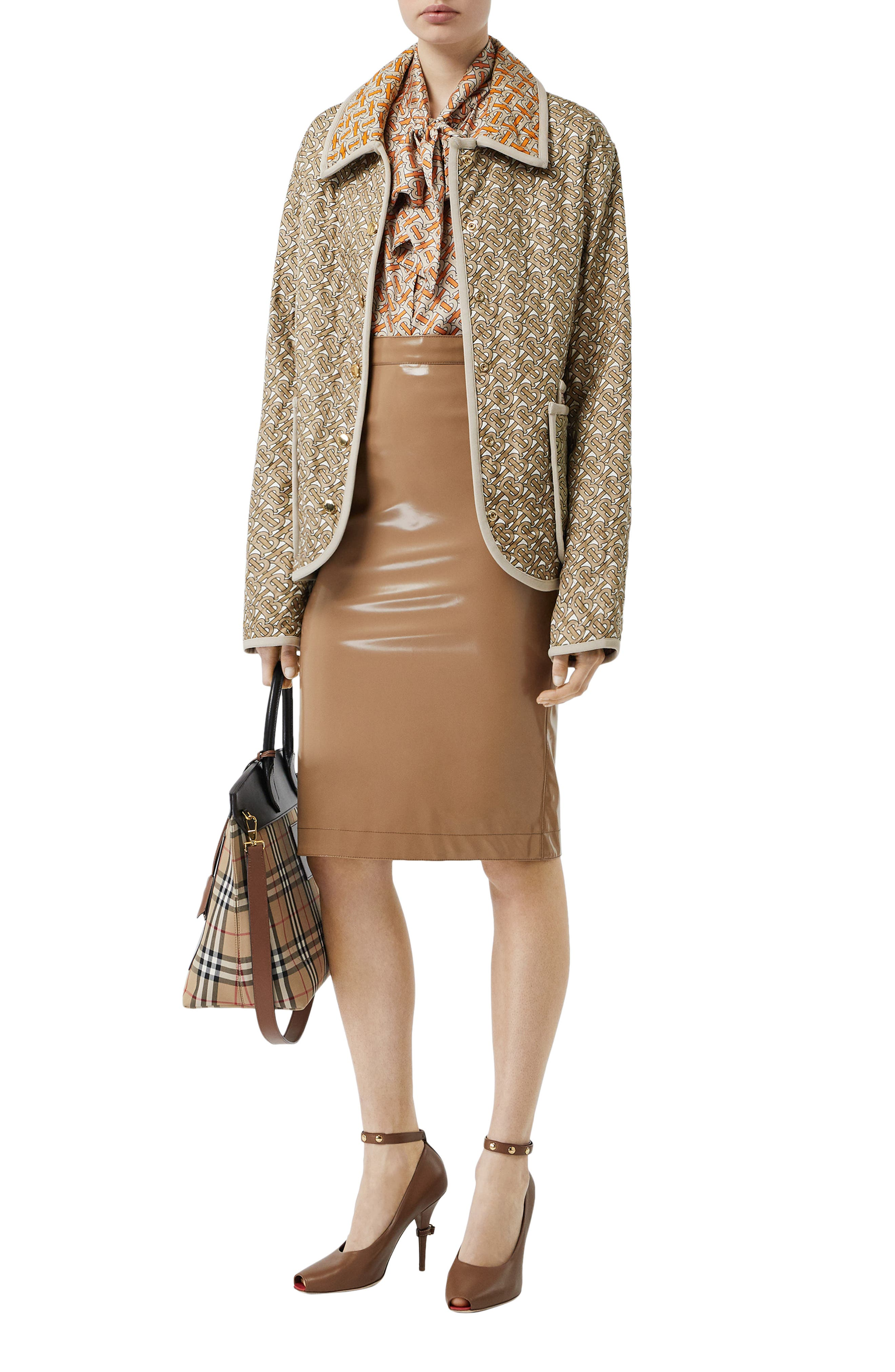 BURBERRY, Monogram Logo Print Quilted Silk Jacket, Alternate thumbnail 6, color, ARCHIVE BEIGE