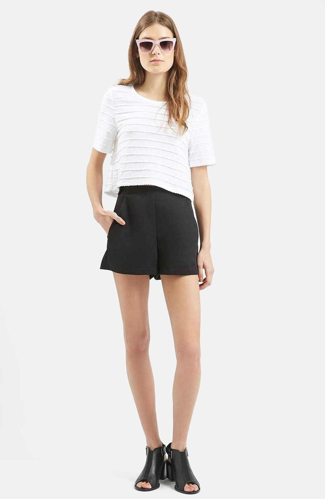 TOPSHOP, High Rise Button Tab Shorts, Alternate thumbnail 2, color, 001
