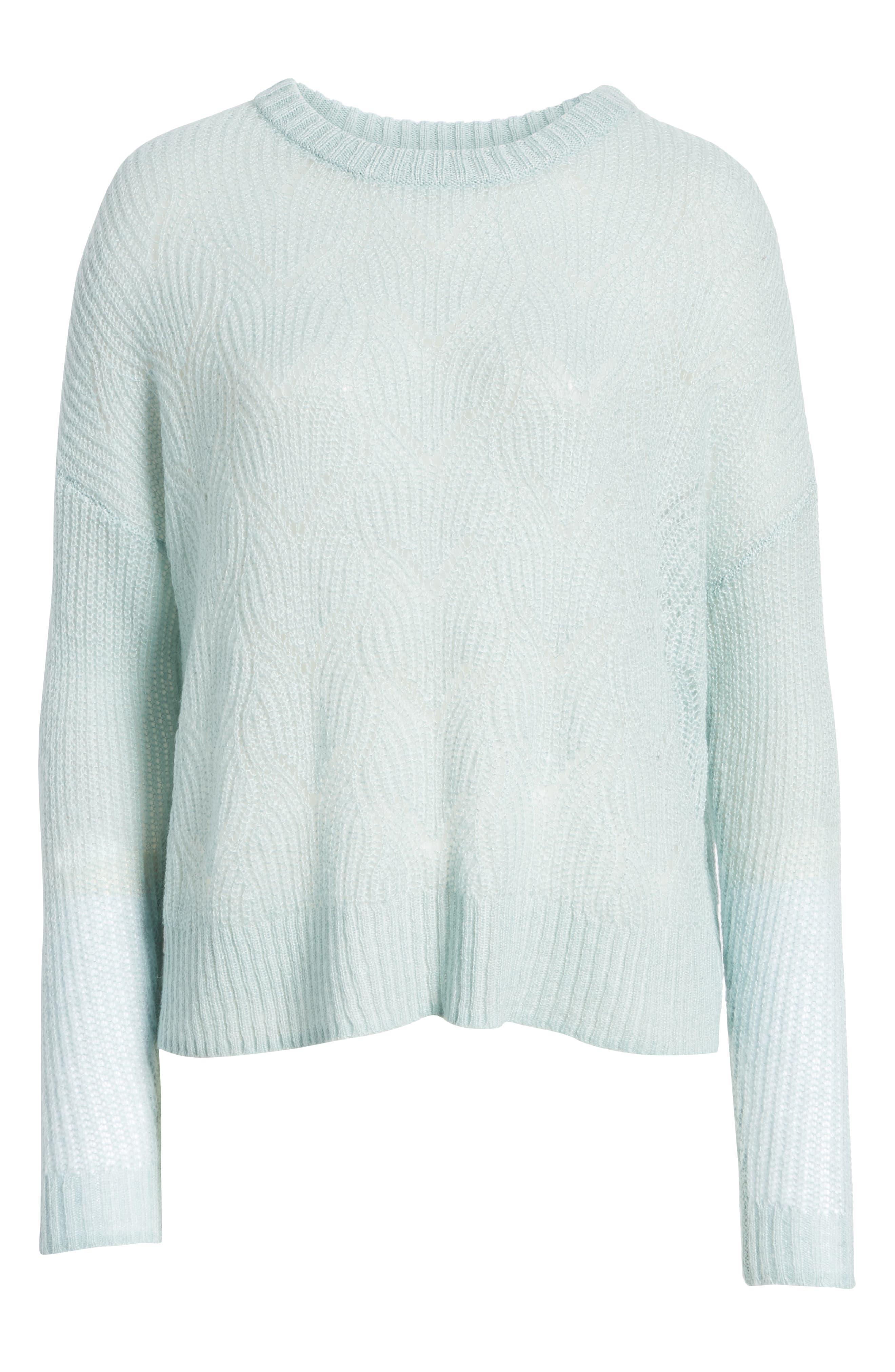 BP., Pointelle Stitch Sweater, Alternate thumbnail 7, color, BLUE CLOUD