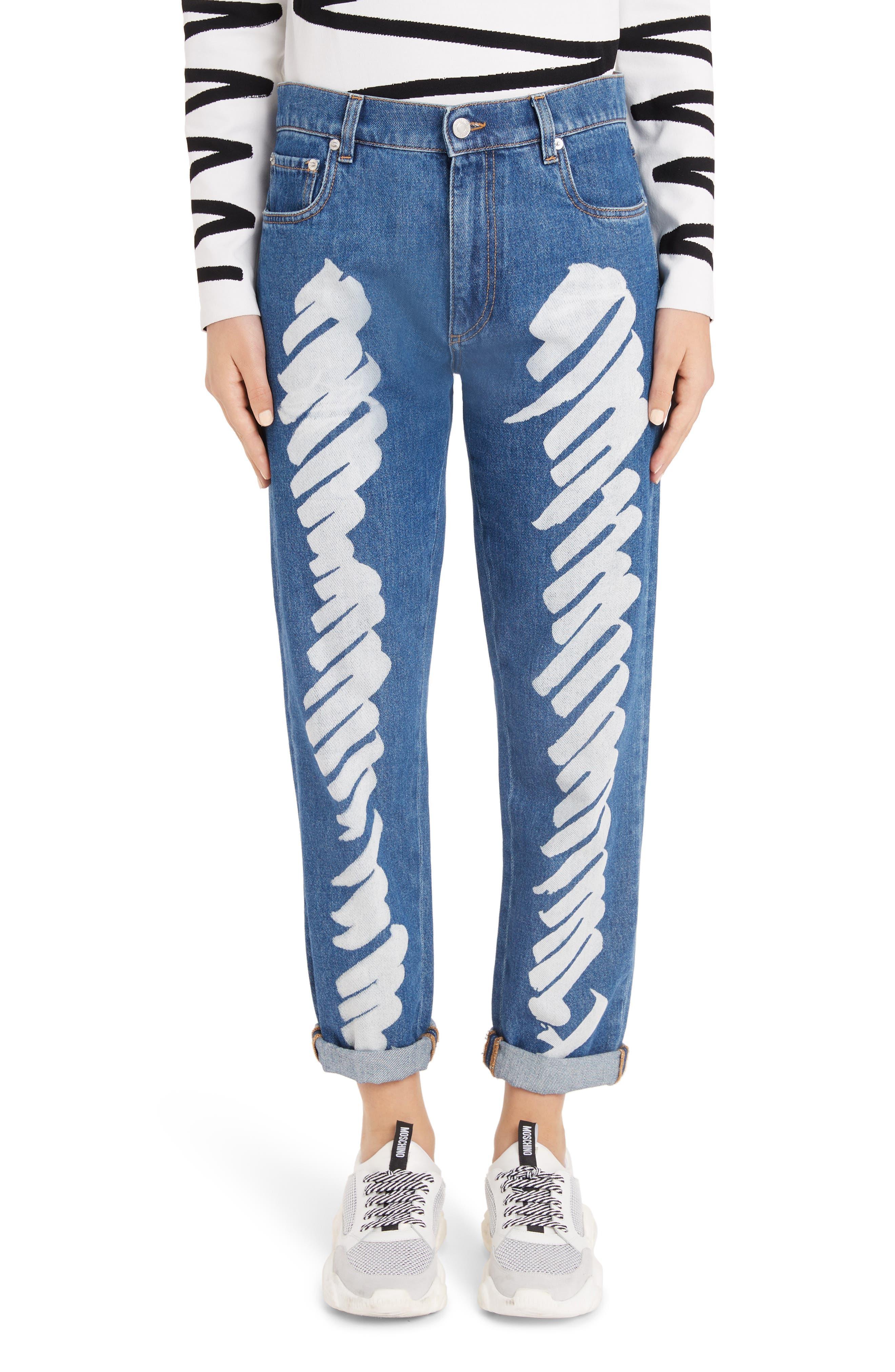 MOSCHINO, Scribble Straight Leg Jeans, Main thumbnail 1, color, DENIM