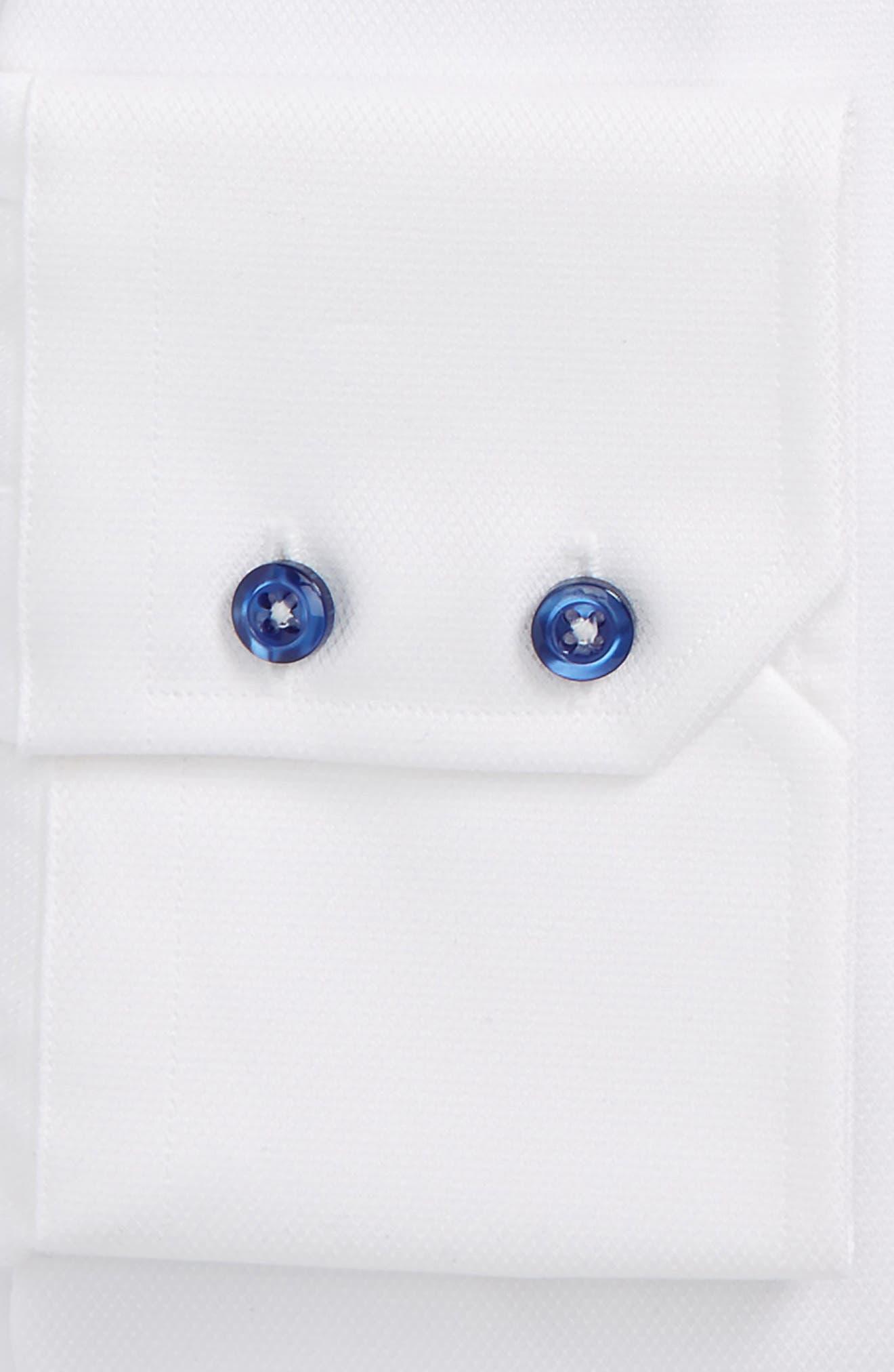 DAVID DONAHUE, Trim Fit Diamond Weave Dress Shirt, Alternate thumbnail 2, color, WHITE
