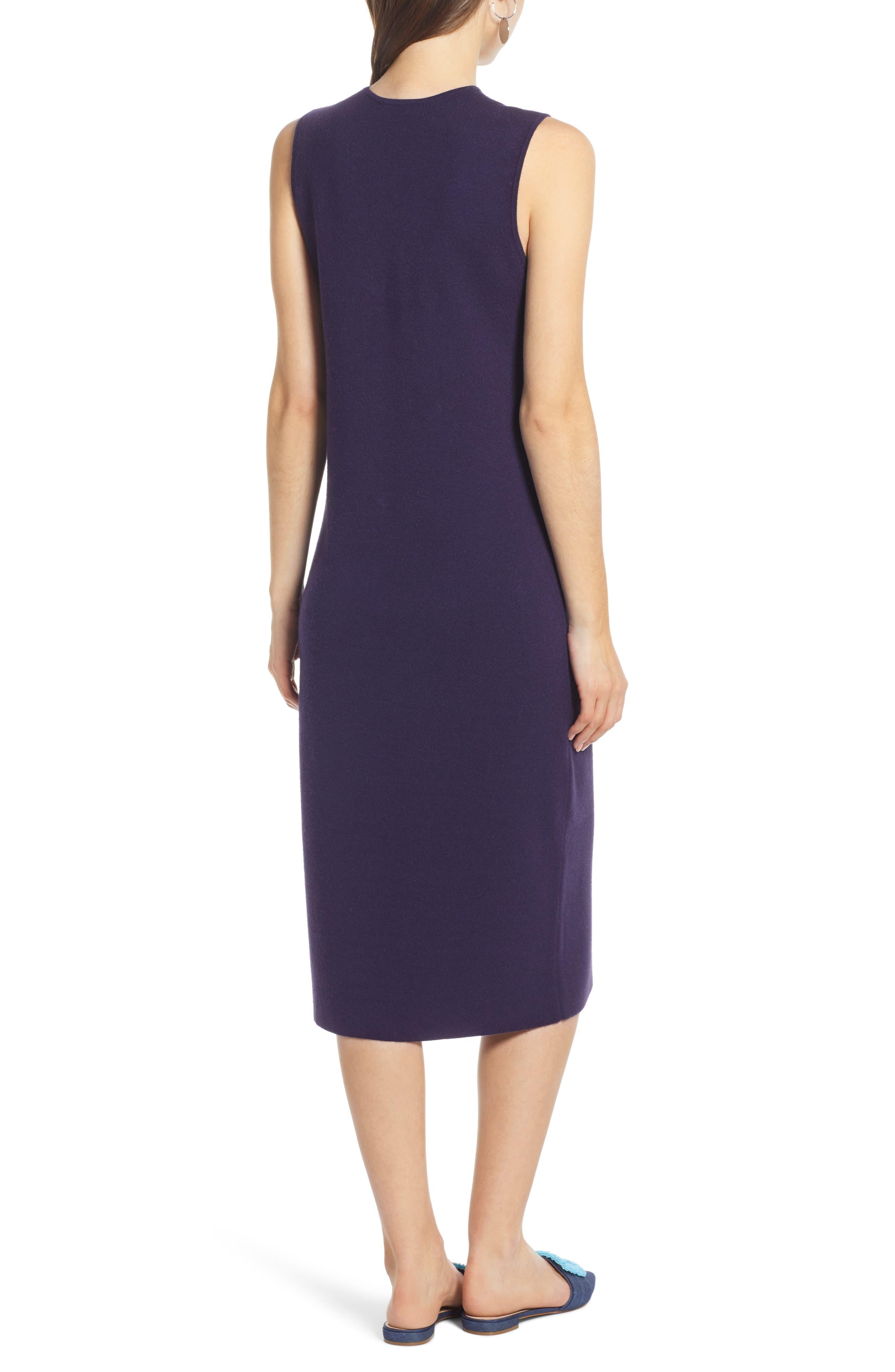 SOMETHING NAVY, Sleeveless Sweater Dress, Alternate thumbnail 2, color, 401