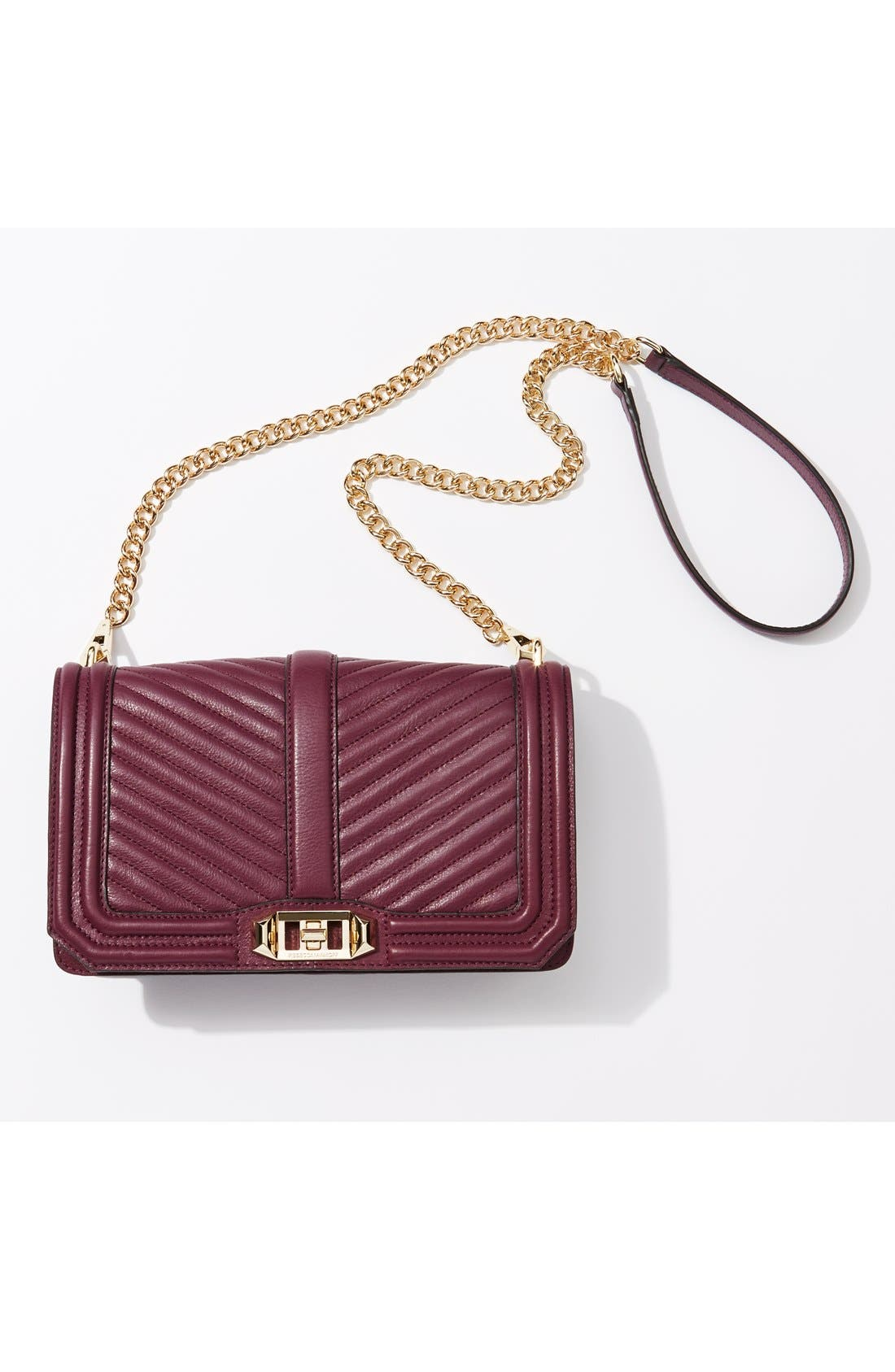REBECCA MINKOFF, 'Chevron Quilted Love' Crossbody Bag, Alternate thumbnail 9, color, ICE GREY