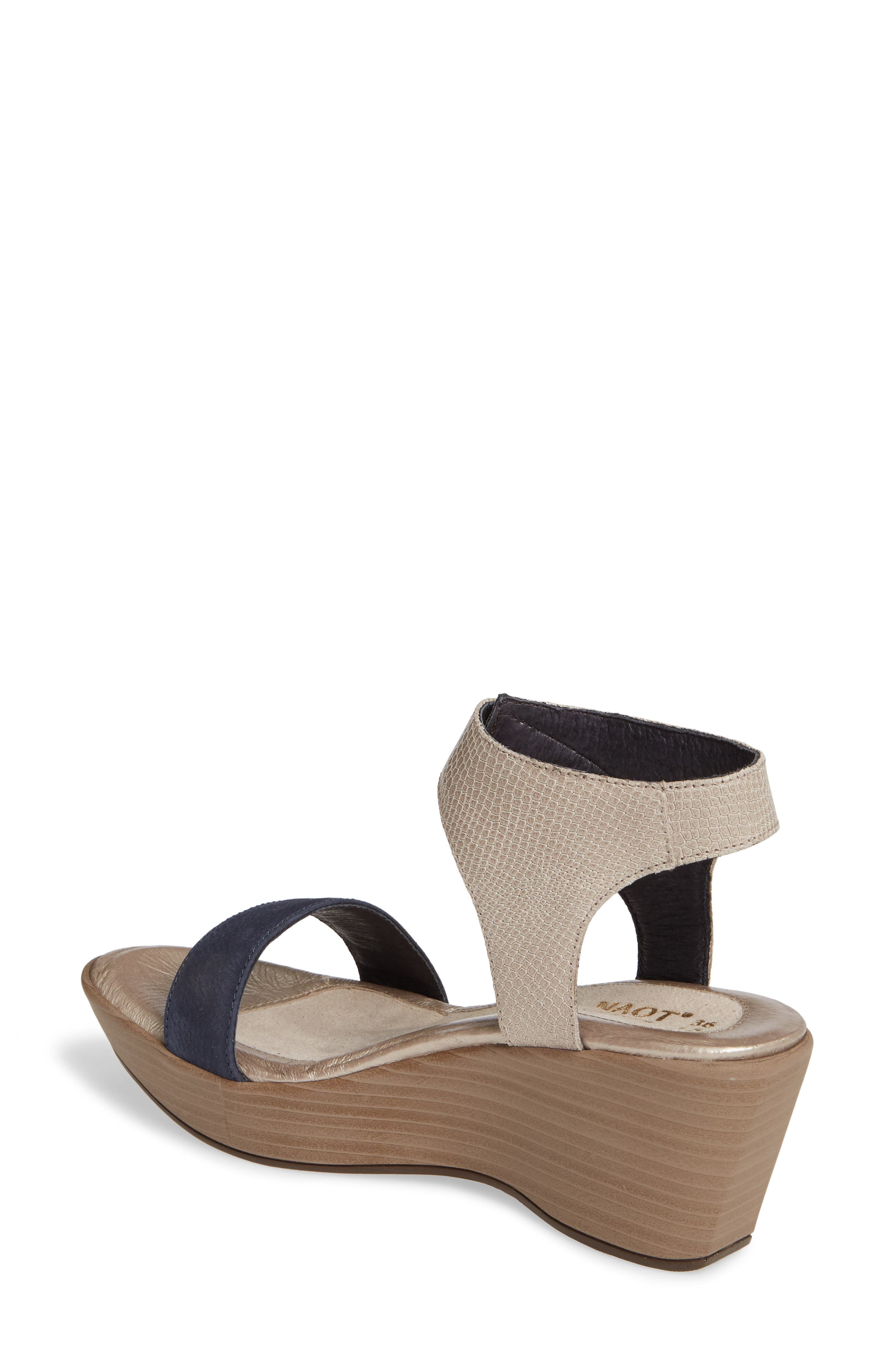 NAOT, Caprice Wedge Sandal, Alternate thumbnail 2, color, BEIGE LIZARD/ NAVY VELVET