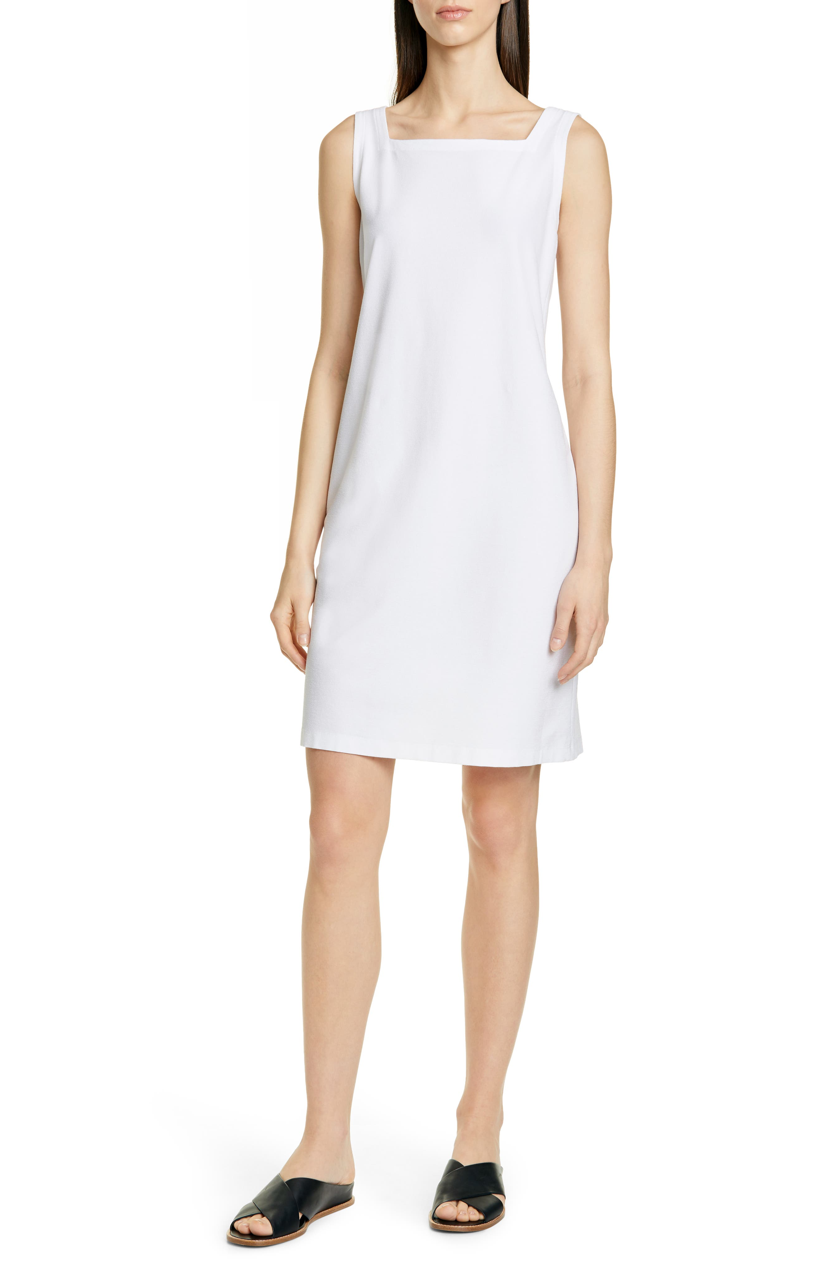 Eileen Fisher Square Neck Shift Dress, Ivory