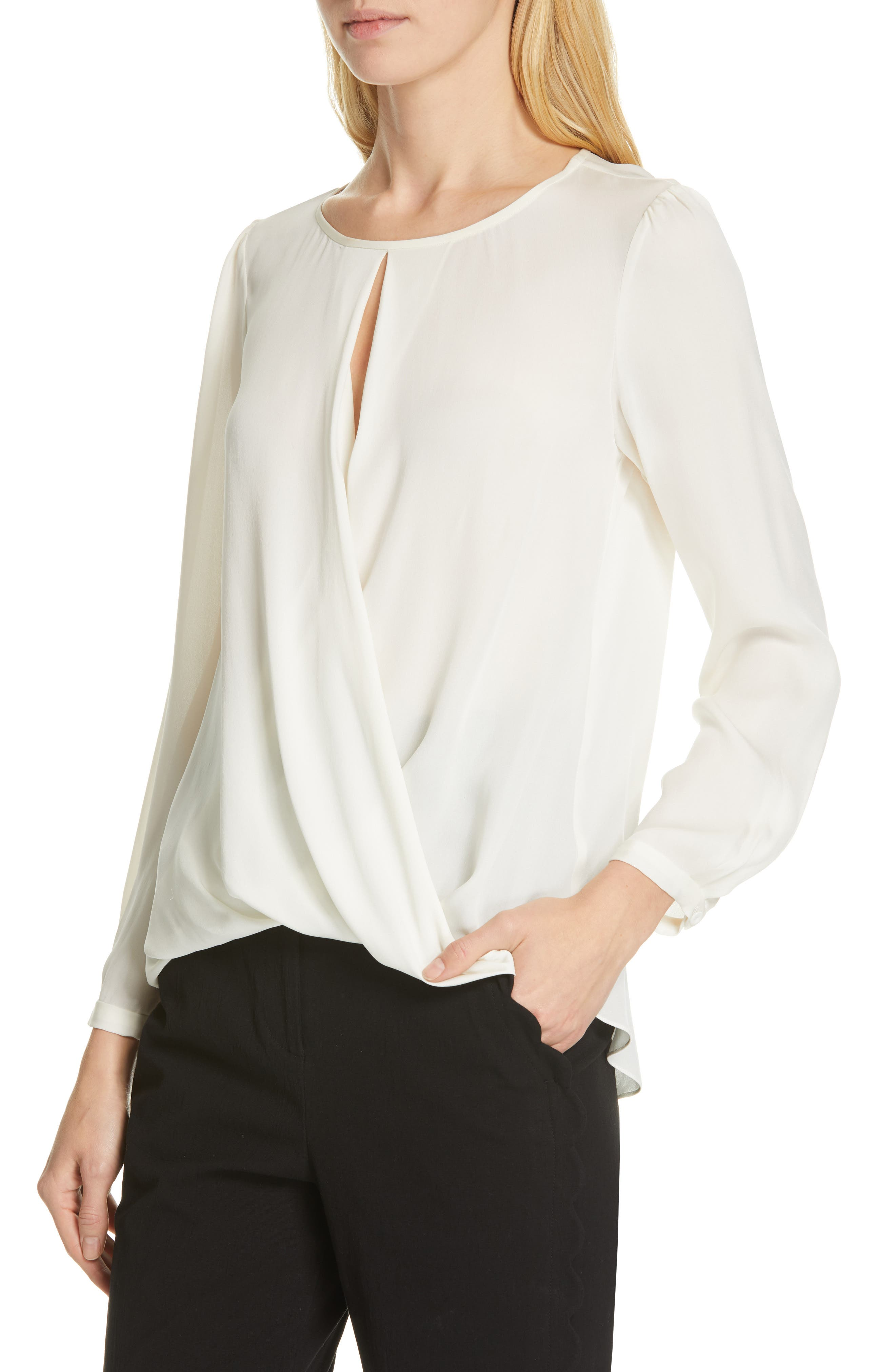 TAILORED BY REBECCA TAYLOR, Silk Georgette Top, Alternate thumbnail 4, color, SNOW