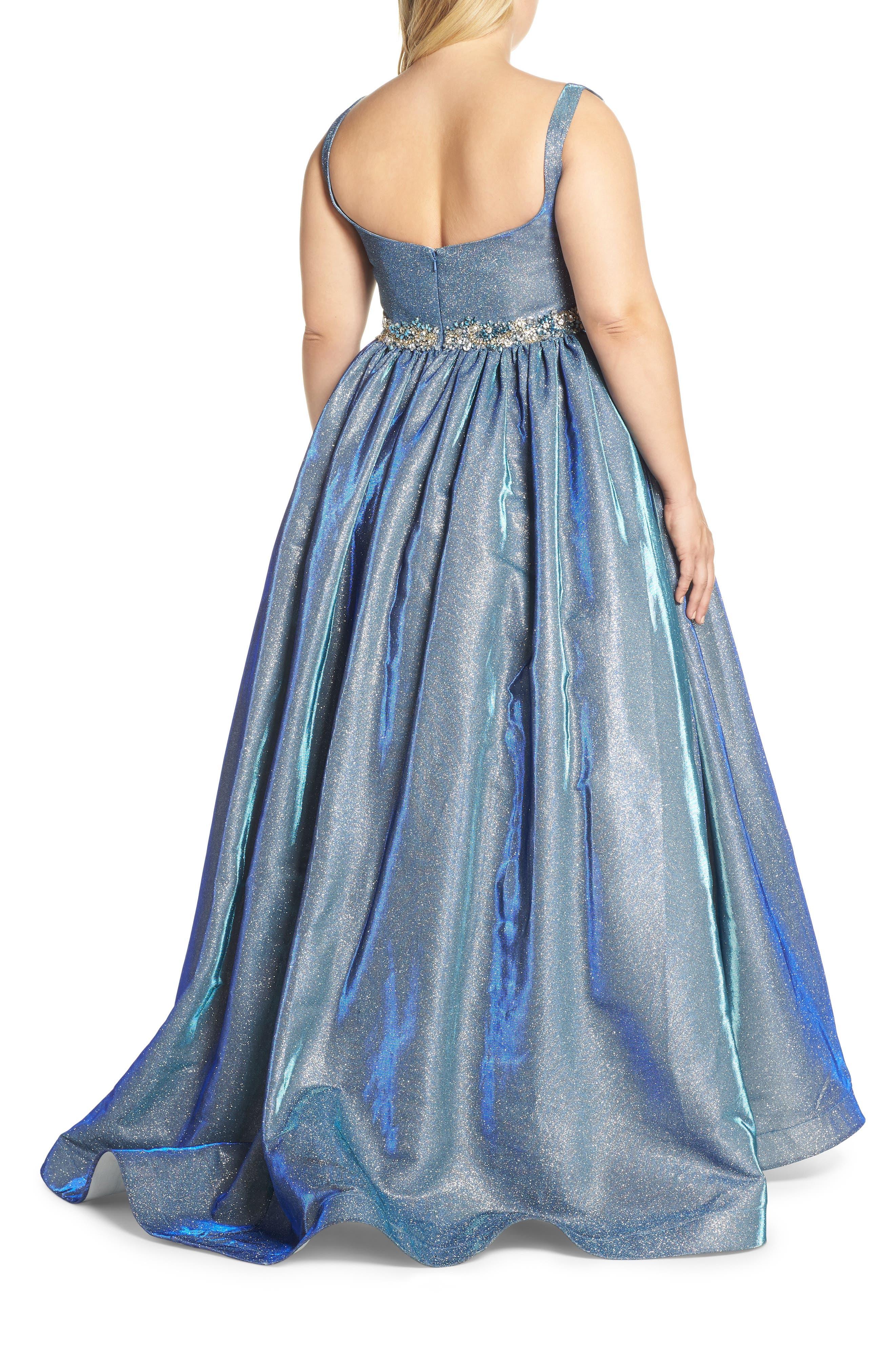 MAC DUGGAL, Jeweled Waist Metallic Evening Dress, Alternate thumbnail 2, color, BLUE