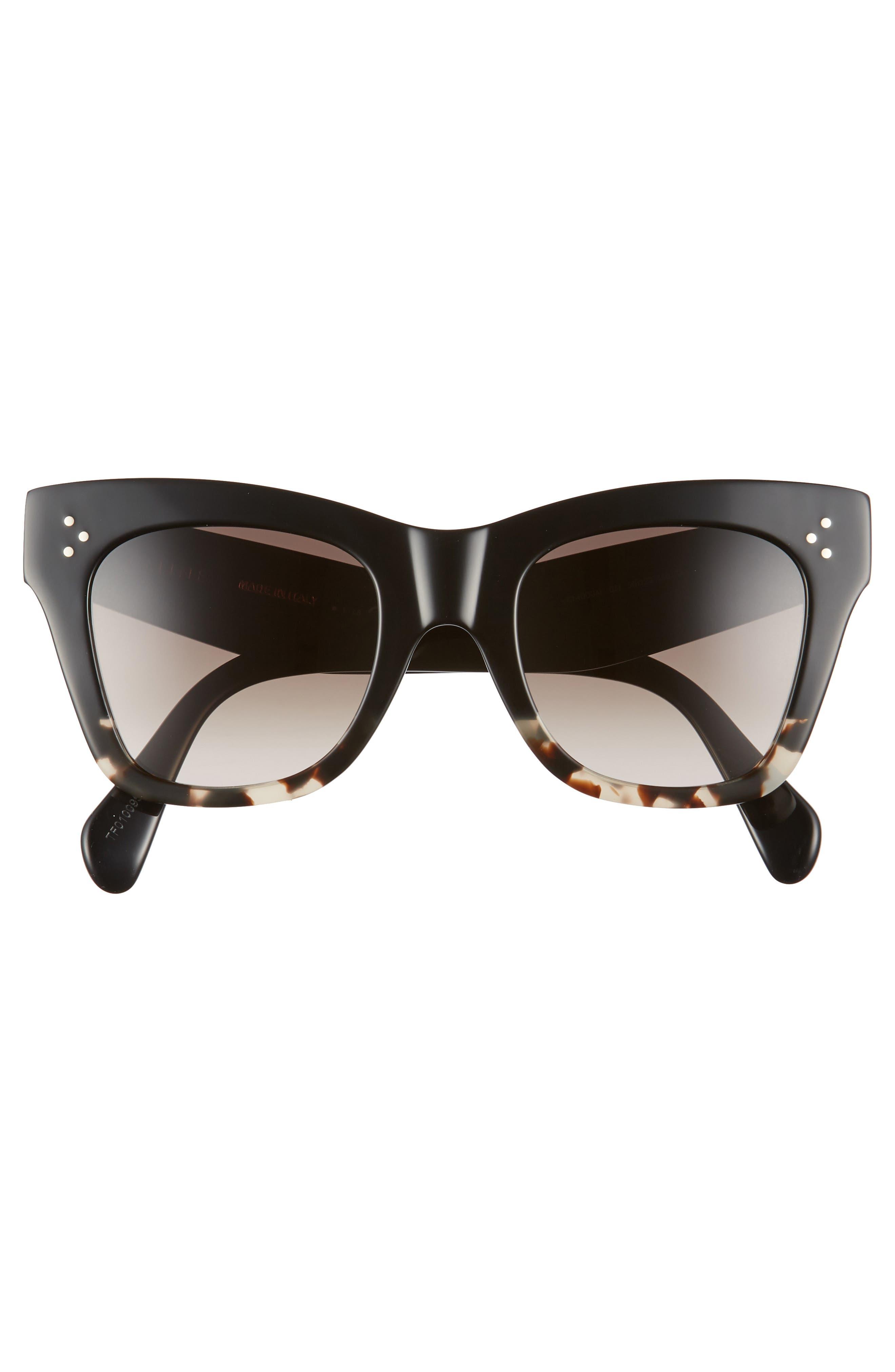 CELINE, 50mm Gradient Butterfly Sunglasses, Alternate thumbnail 4, color, BLACK/ GREY HAVANA/ BROWN