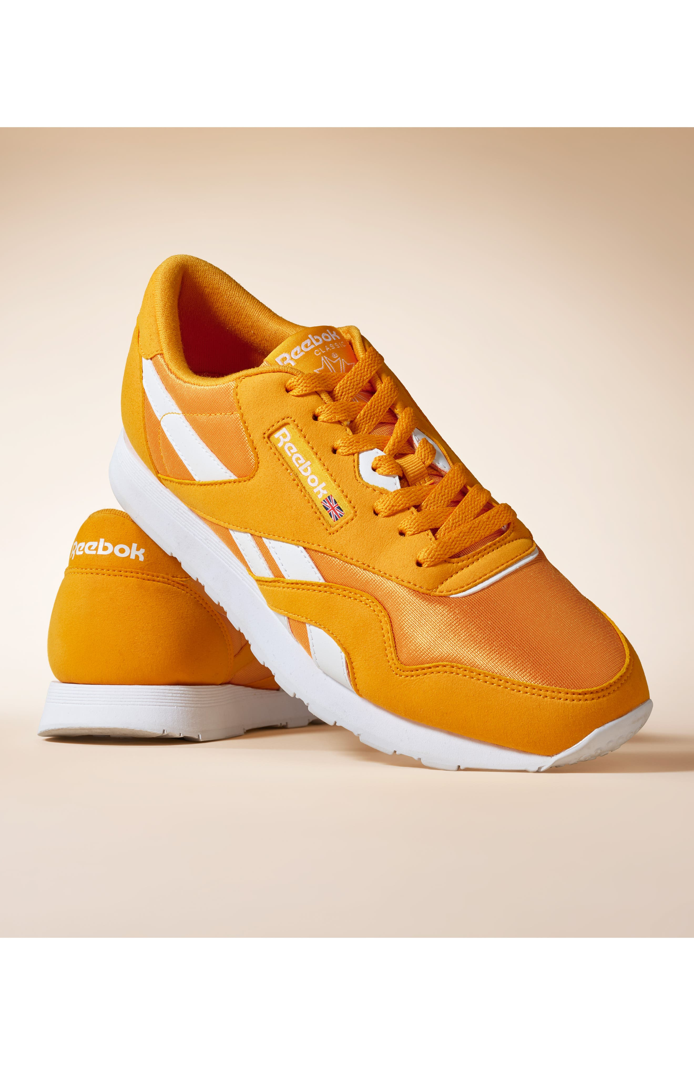 REEBOK, Classic Nylon Sneaker, Alternate thumbnail 7, color, TREK GOLD/ WHITE