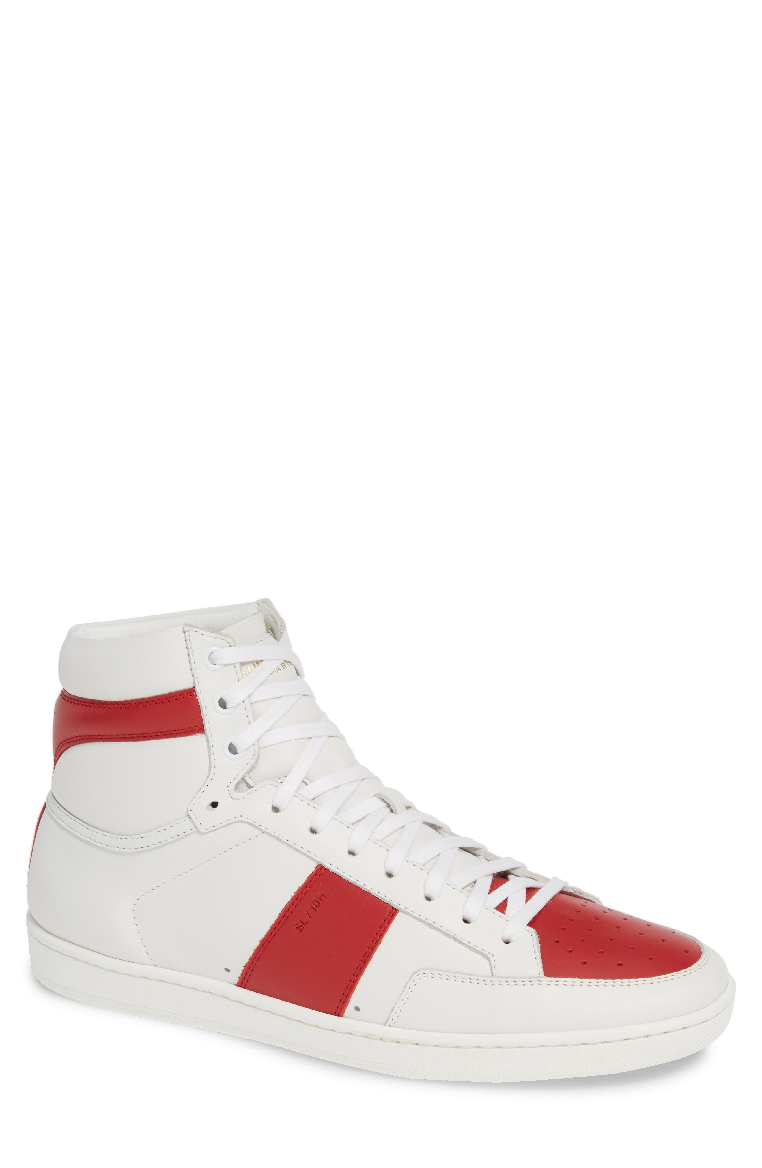 SAINT LAURENT, SL/10H Signature Court Classic High-Top Sneaker, Main thumbnail 1, color, WHITE/ MULTI