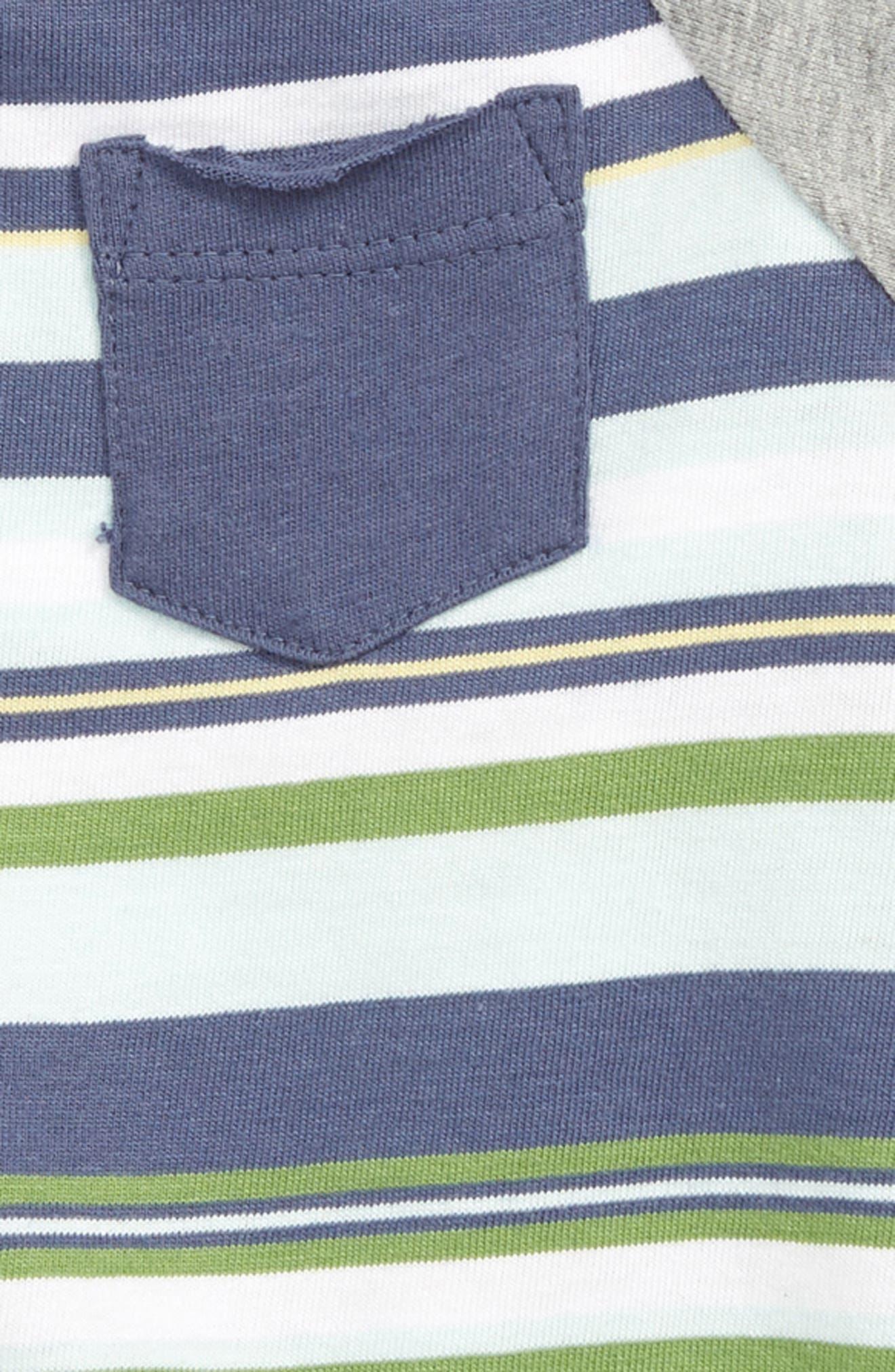 BURT'S BEES BABY, Vintage Stripe Organic Cotton Bodysuit, Alternate thumbnail 2, color, INDIGO