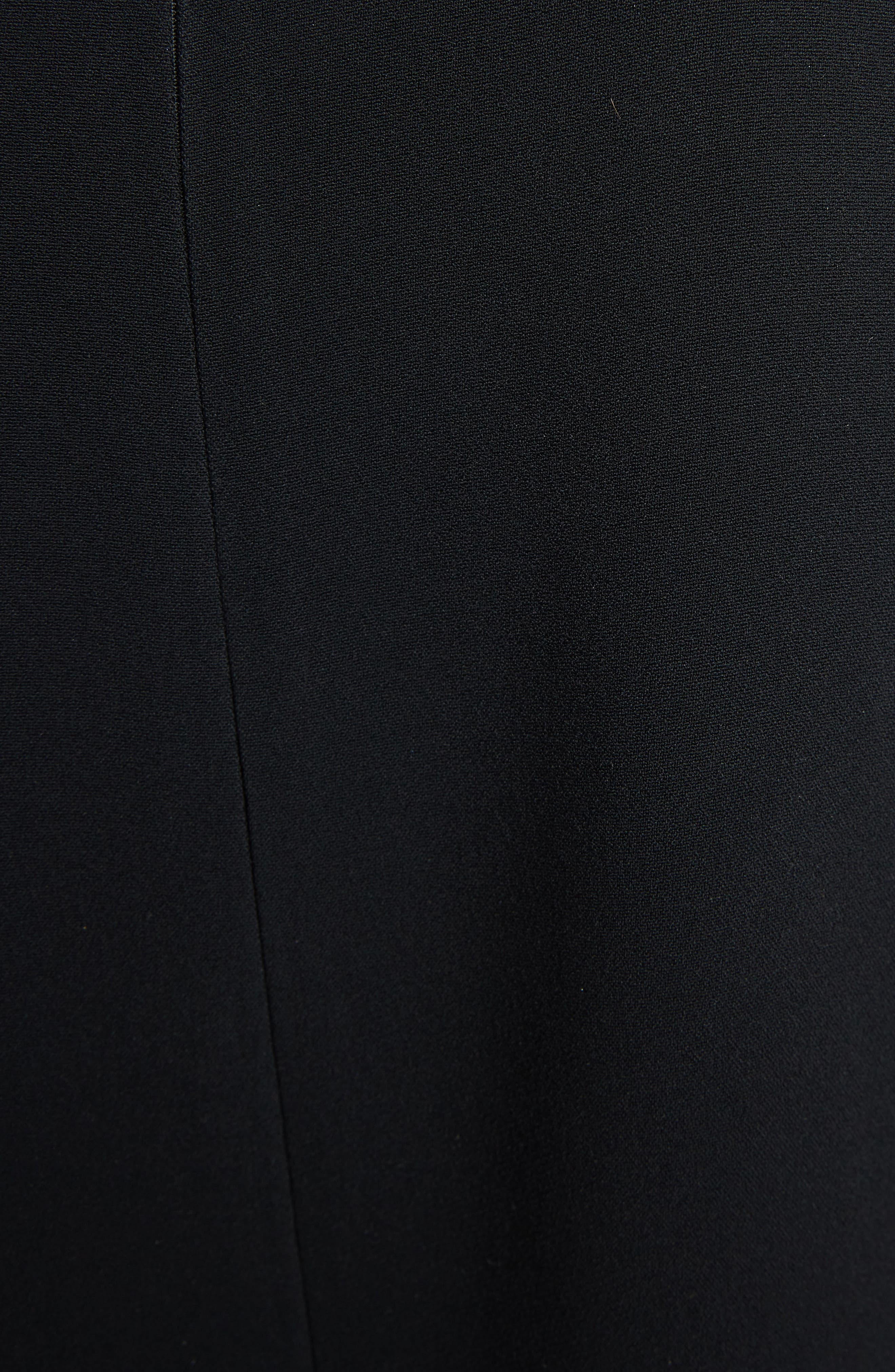 VICTORIA BECKHAM, Asymmetrical Pleat Shift Dress, Alternate thumbnail 5, color, BLACK