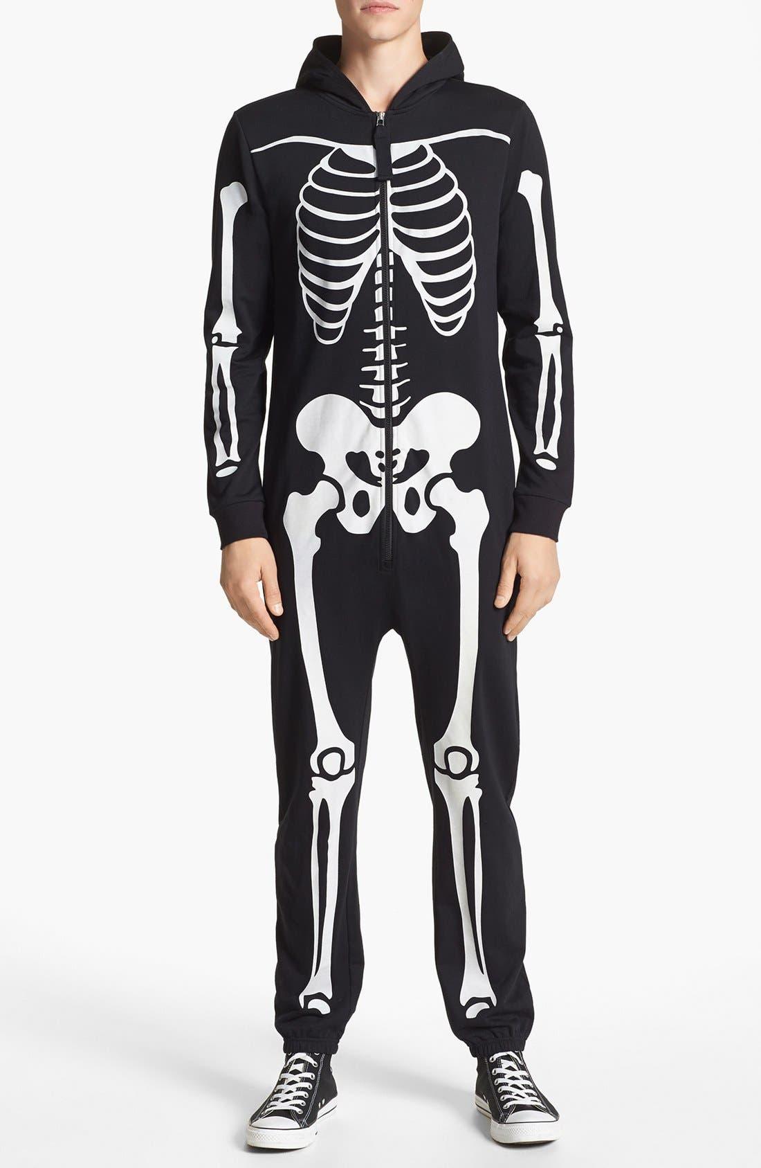 TOPMAN, Glow In The Dark Skeleton Print Bodysuit, Main thumbnail 1, color, 001