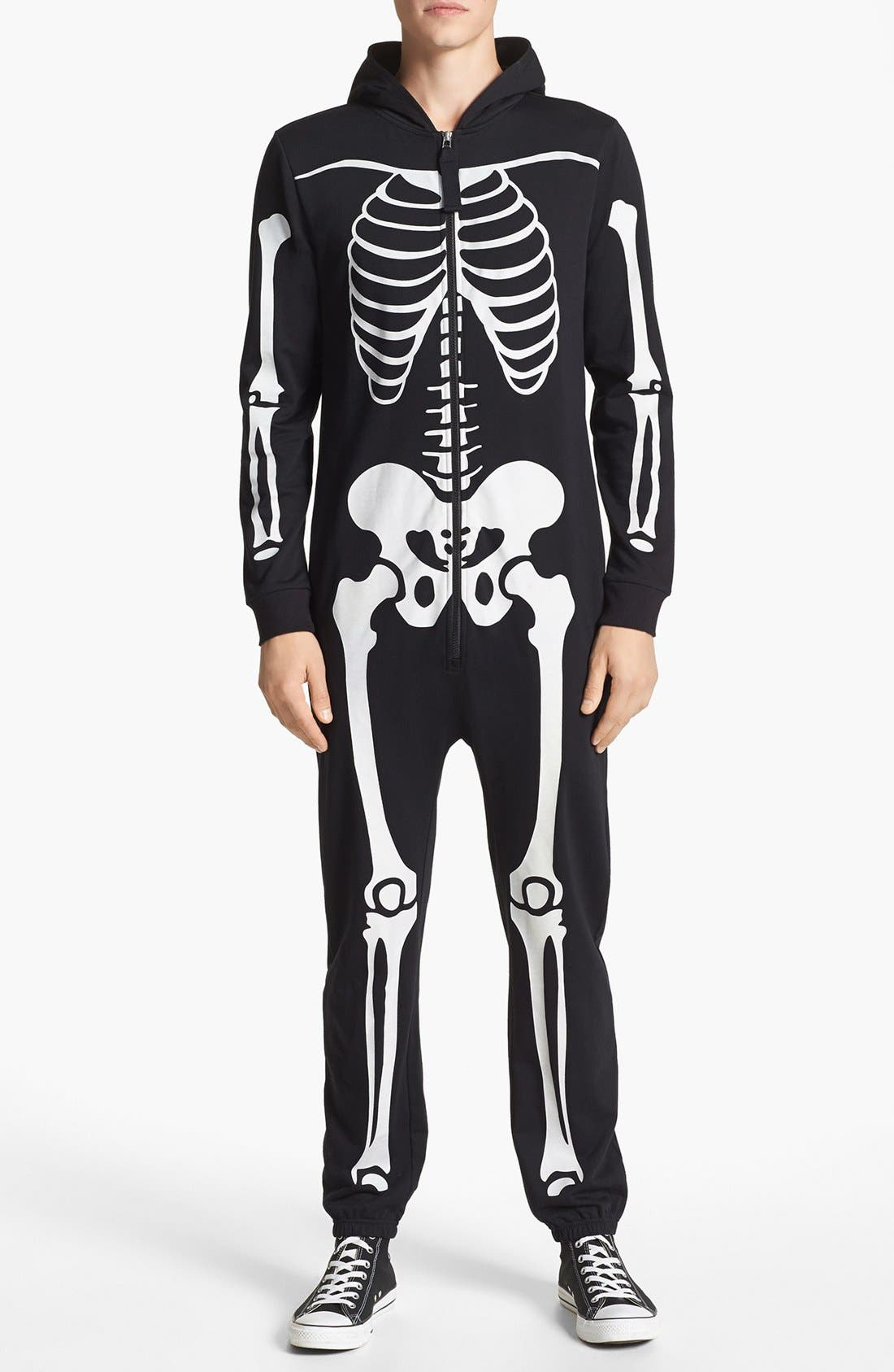 TOPMAN Glow In The Dark Skeleton Print Bodysuit, Main, color, 001