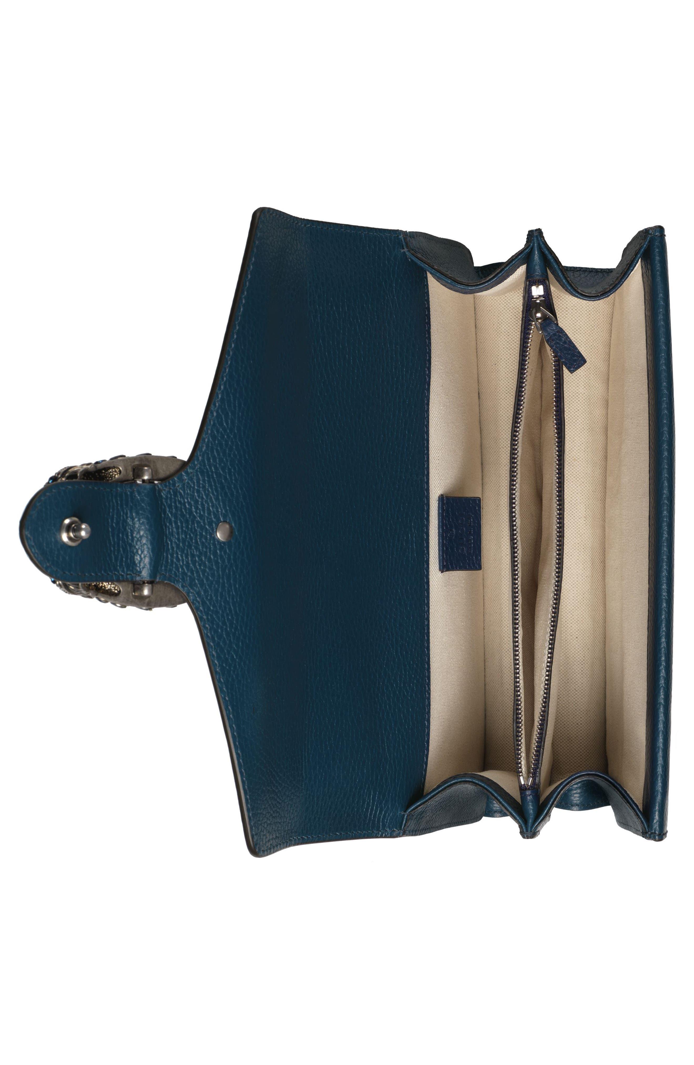 GUCCI, Small Dionysus Leather Shoulder Bag, Alternate thumbnail 3, color, BLU AGATA/ MONTANA