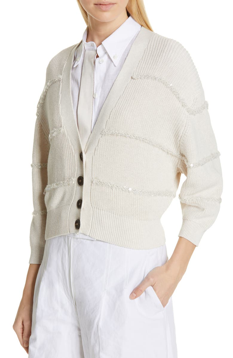 Brunello Cucinelli Tops TEXTURED SEQUIN STRIPE CROP CARDIGAN