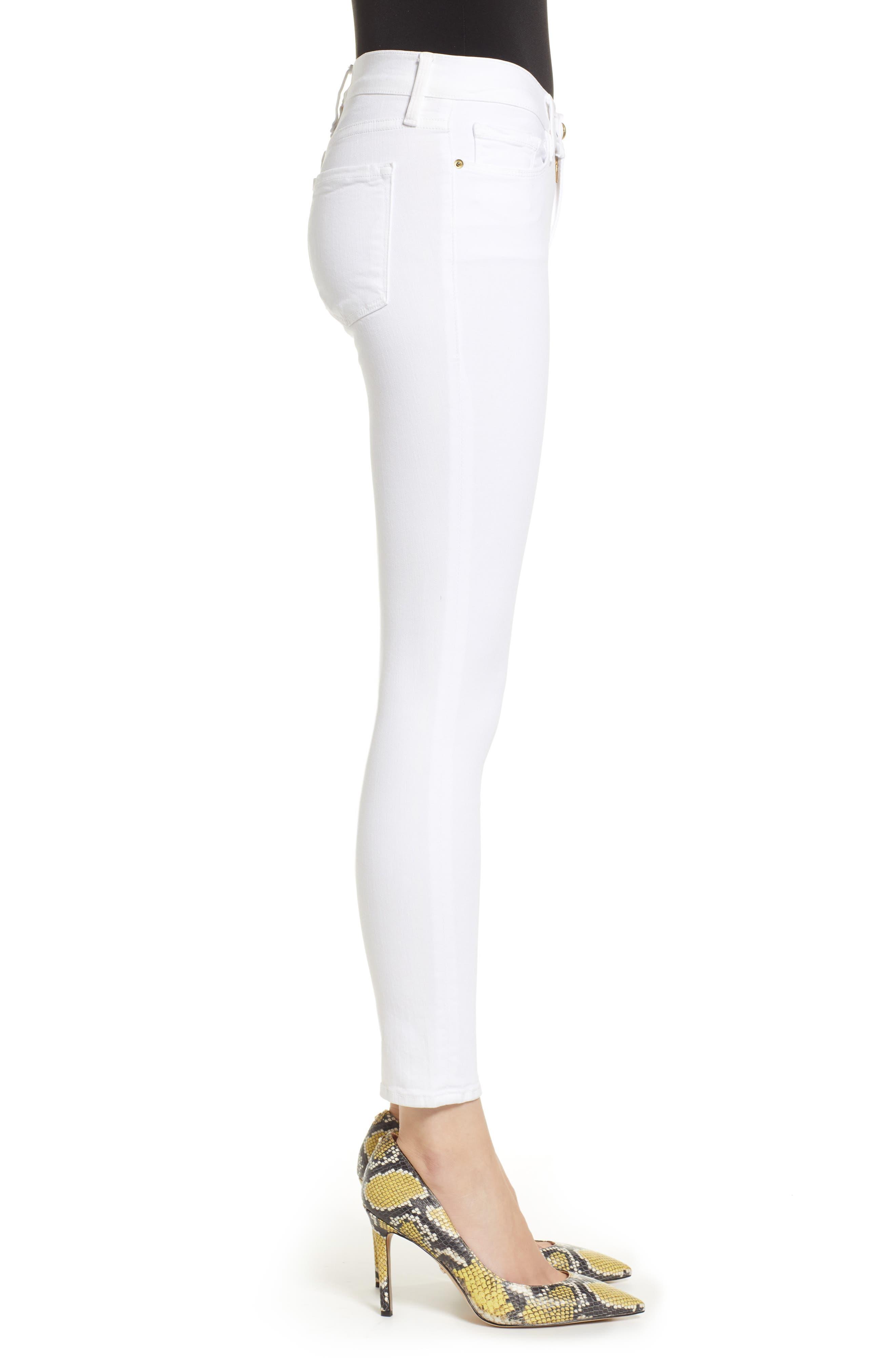 FRAME, Le Color Crop Skinny Jeans, Alternate thumbnail 4, color, BLANC