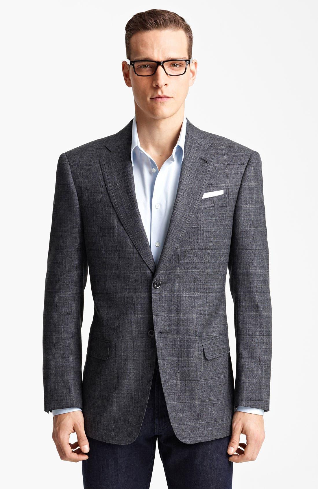 EMPORIO ARMANI Armani Collezioni Windowpane Wool & Silk Sportcoat, Main, color, 026