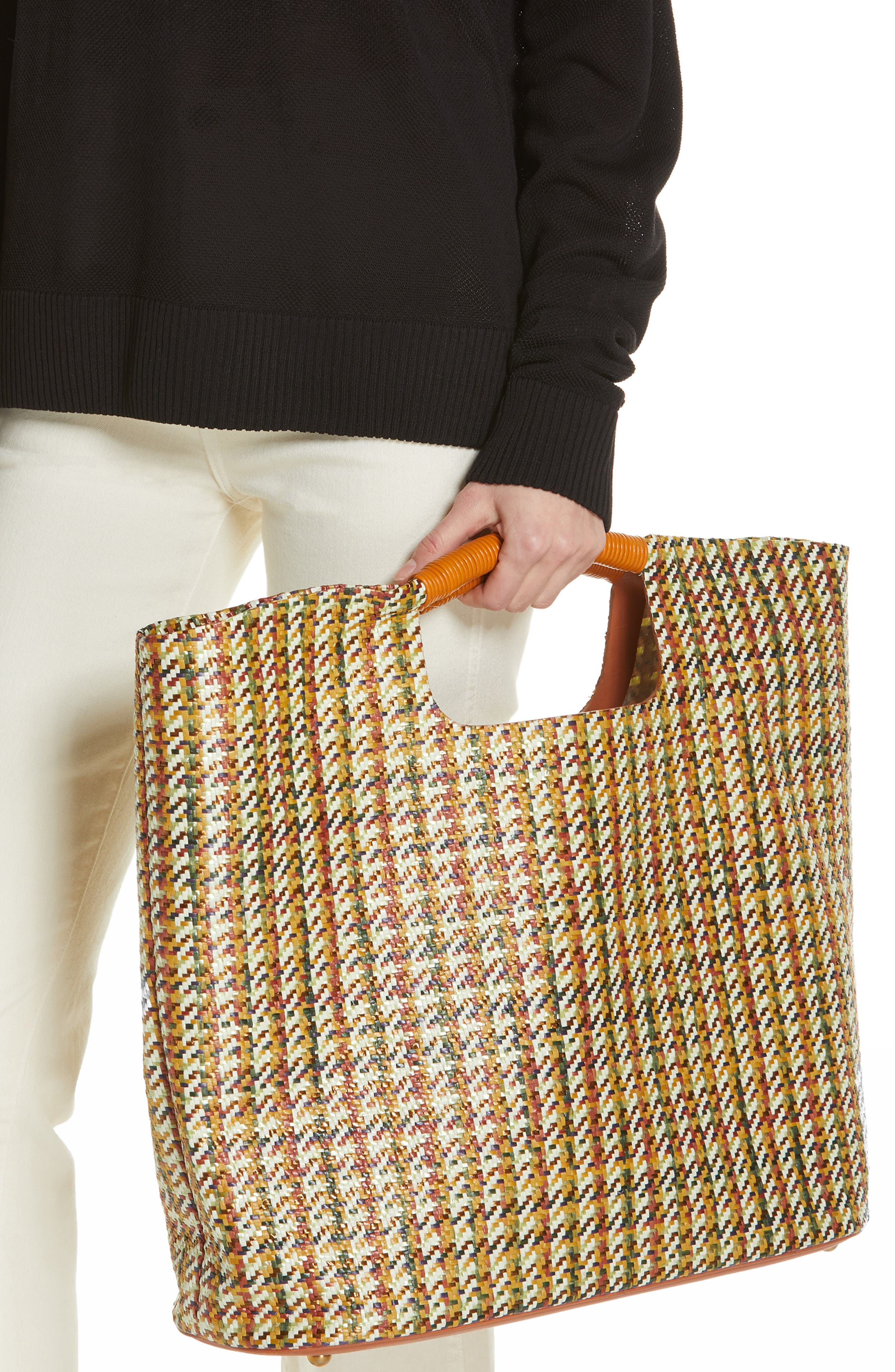 SIMON MILLER, Large Birch Houndstooth Tote, Alternate thumbnail 2, color, 200