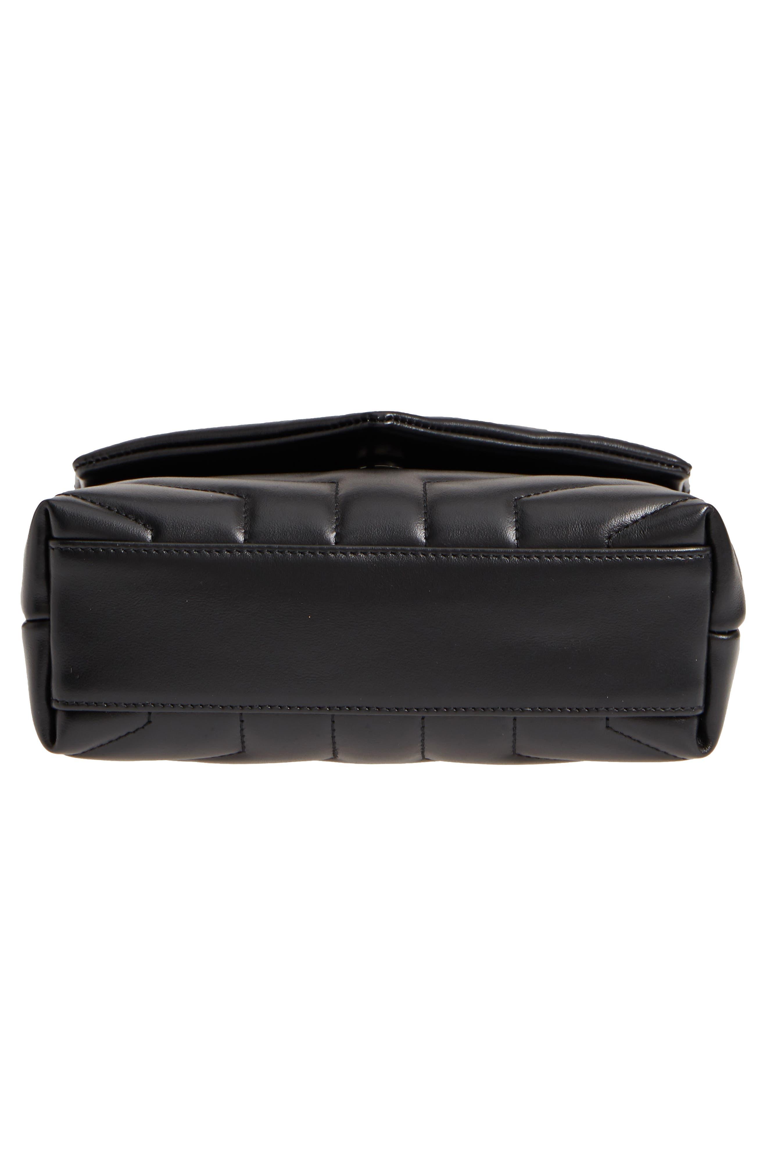 SAINT LAURENT, Toy Loulou Leather Crossbody Bag, Alternate thumbnail 6, color, 001
