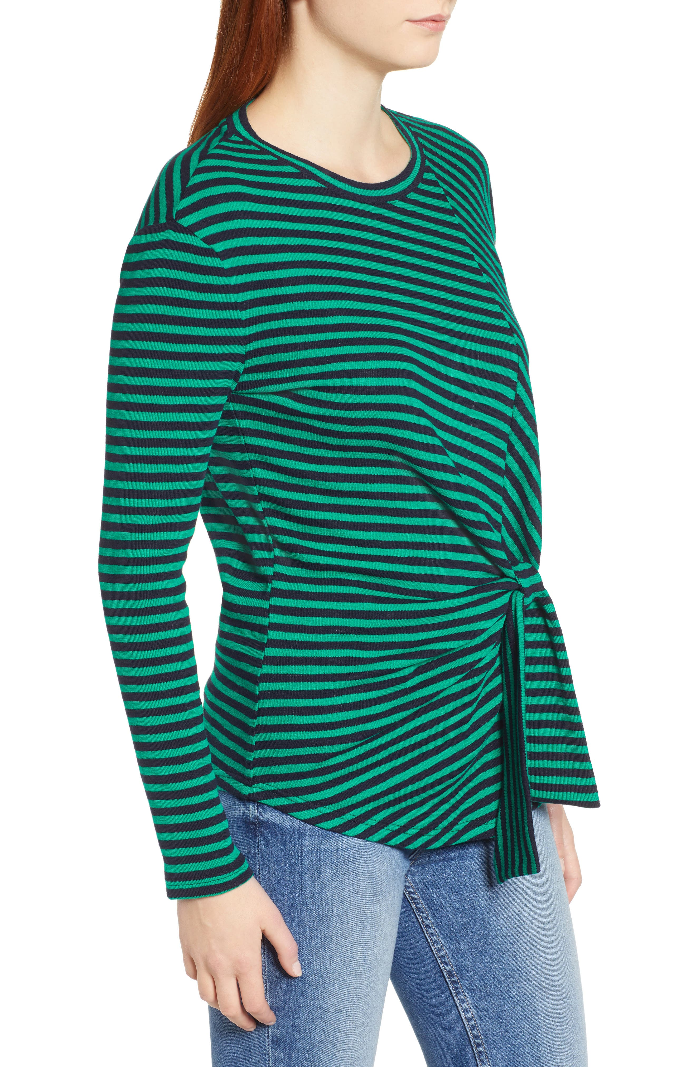 &.LAYERED, Twist Front Stripe Stretch Cotton Tee, Alternate thumbnail 3, color, NAVY/ GREEN