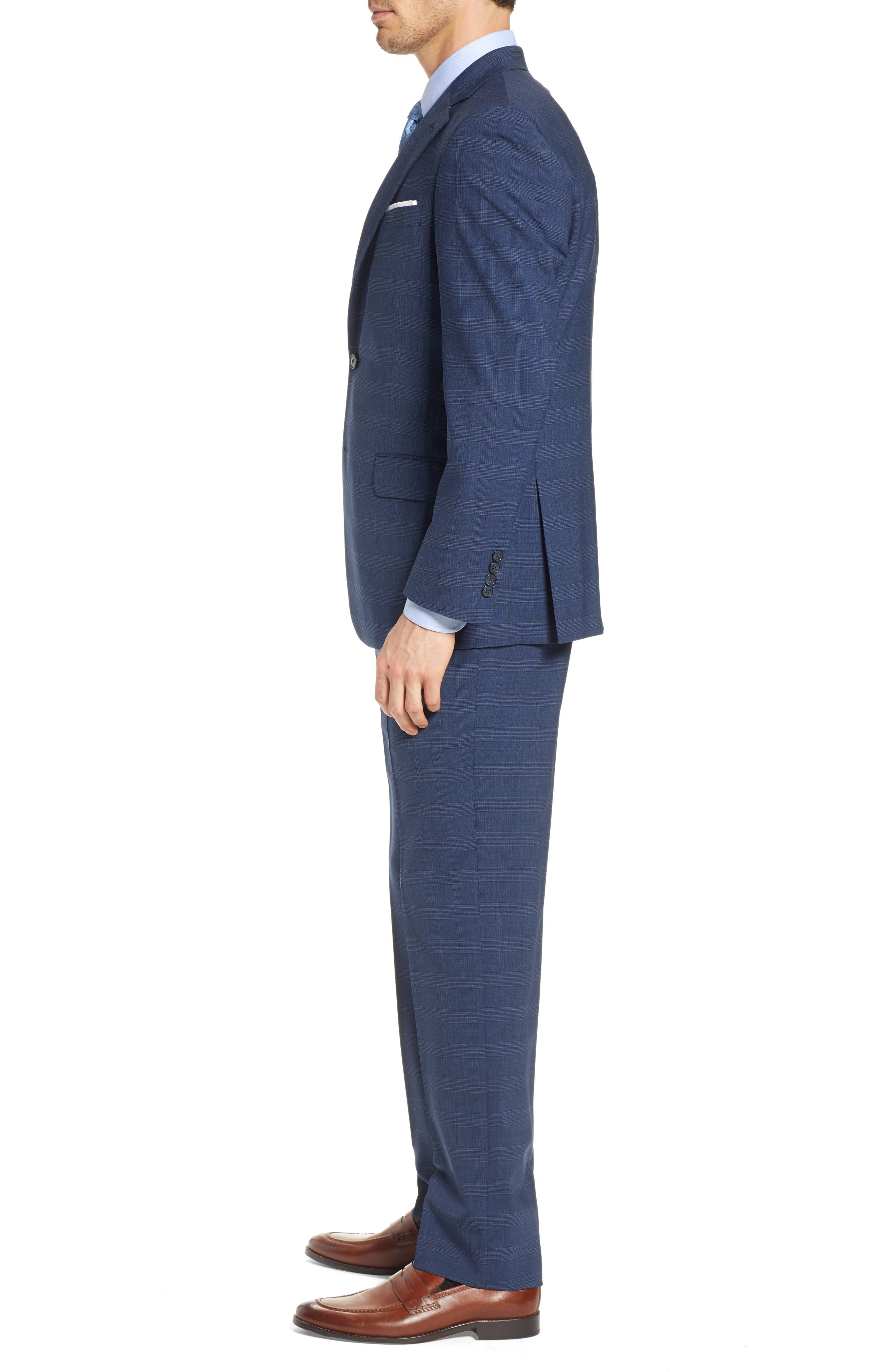 HART SCHAFFNER MARX, New York Classic Fit Plaid Wool Blend Suit, Alternate thumbnail 3, color, 401