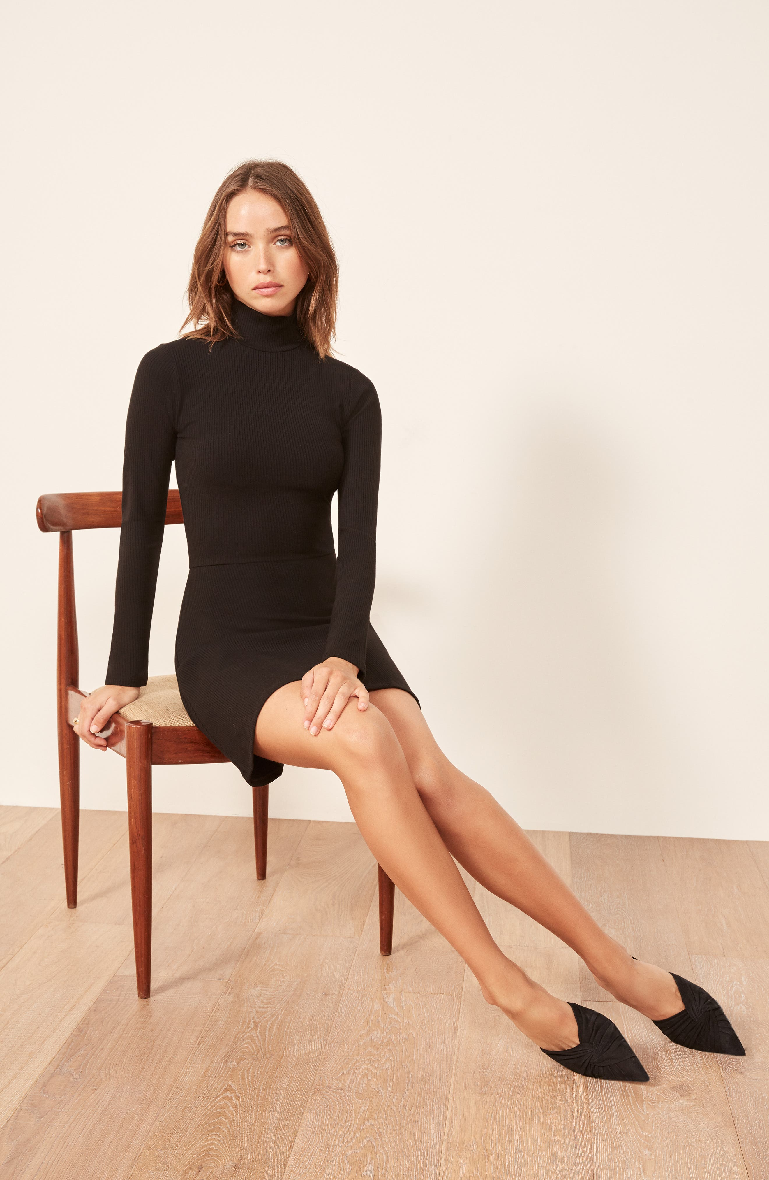 REFORMATION, Maya Turtleneck Body-Con Dress, Alternate thumbnail 2, color, BLACK