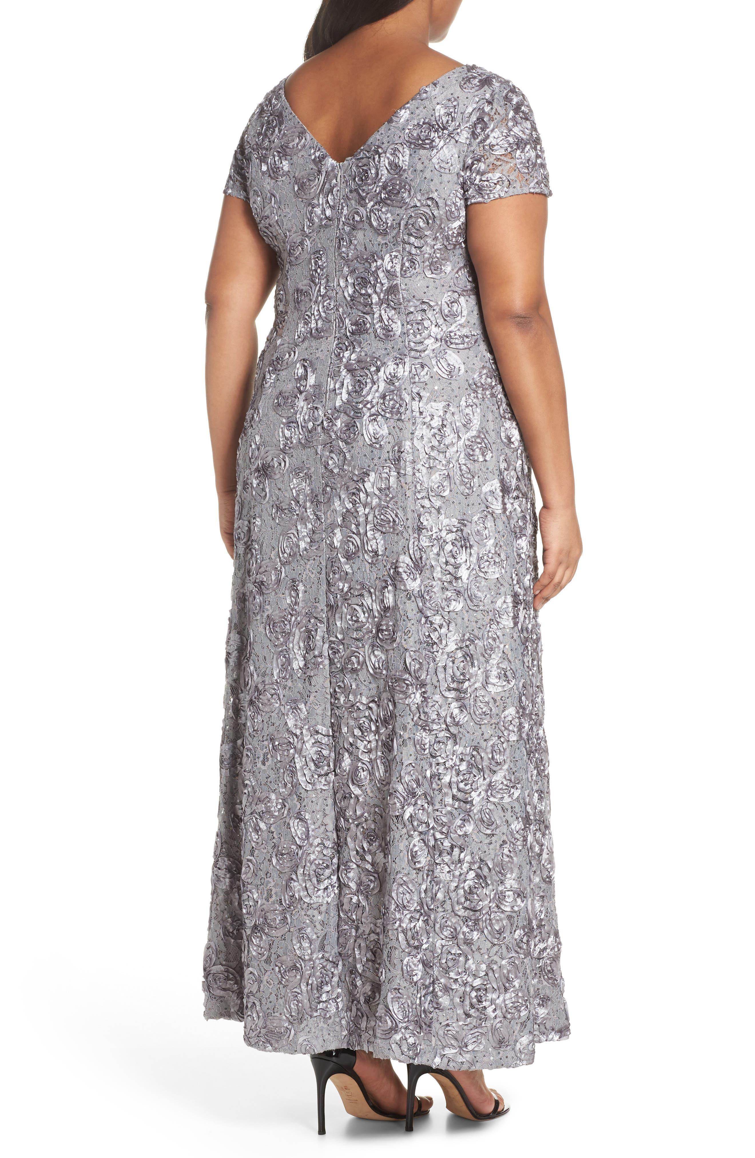 ALEX EVENINGS, Rosette Lace Short Sleeve A-Line Gown, Alternate thumbnail 2, color, DOVE
